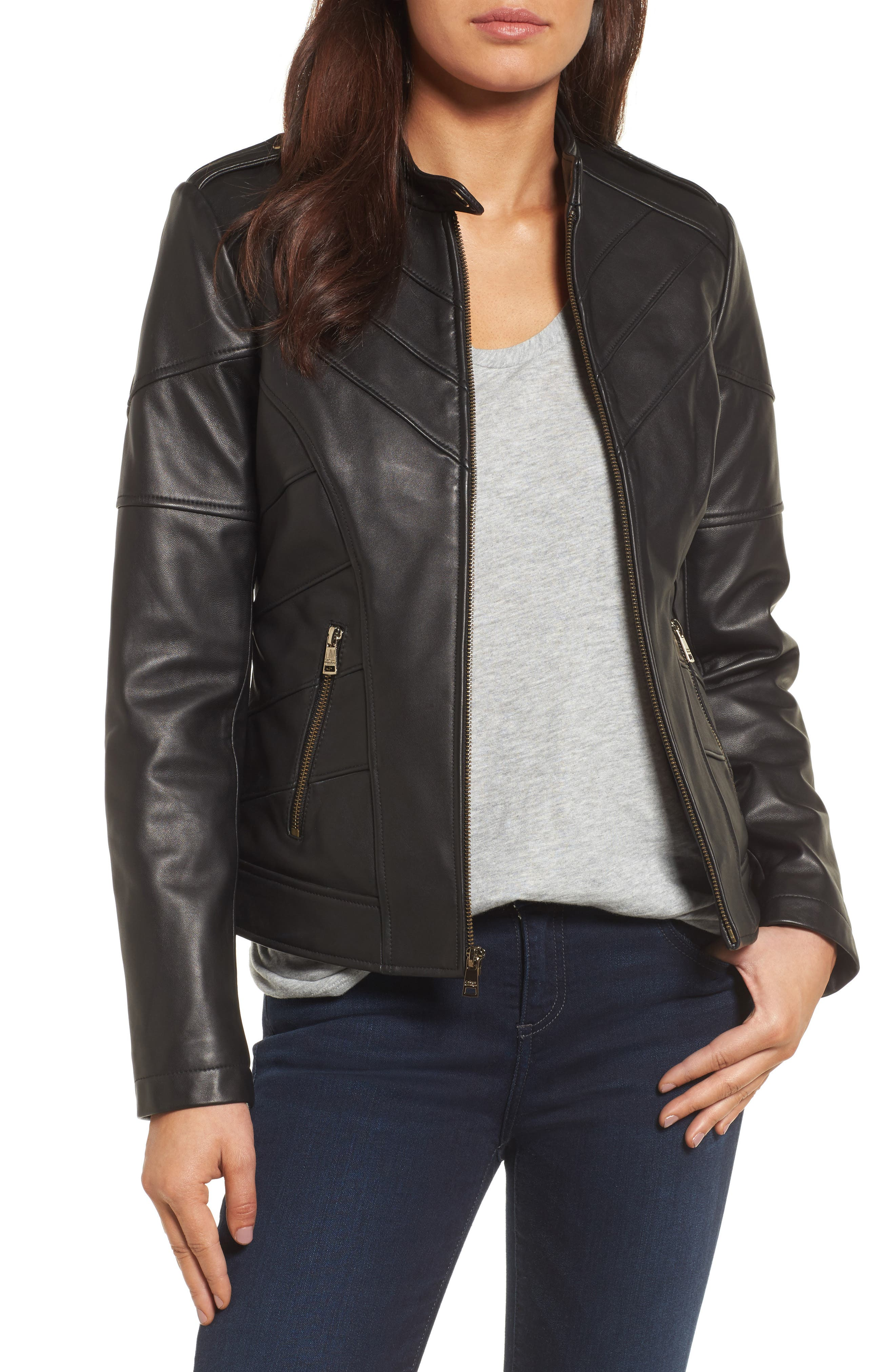 Chevron Seam Leather Jacket,                         Main,                         color, 001