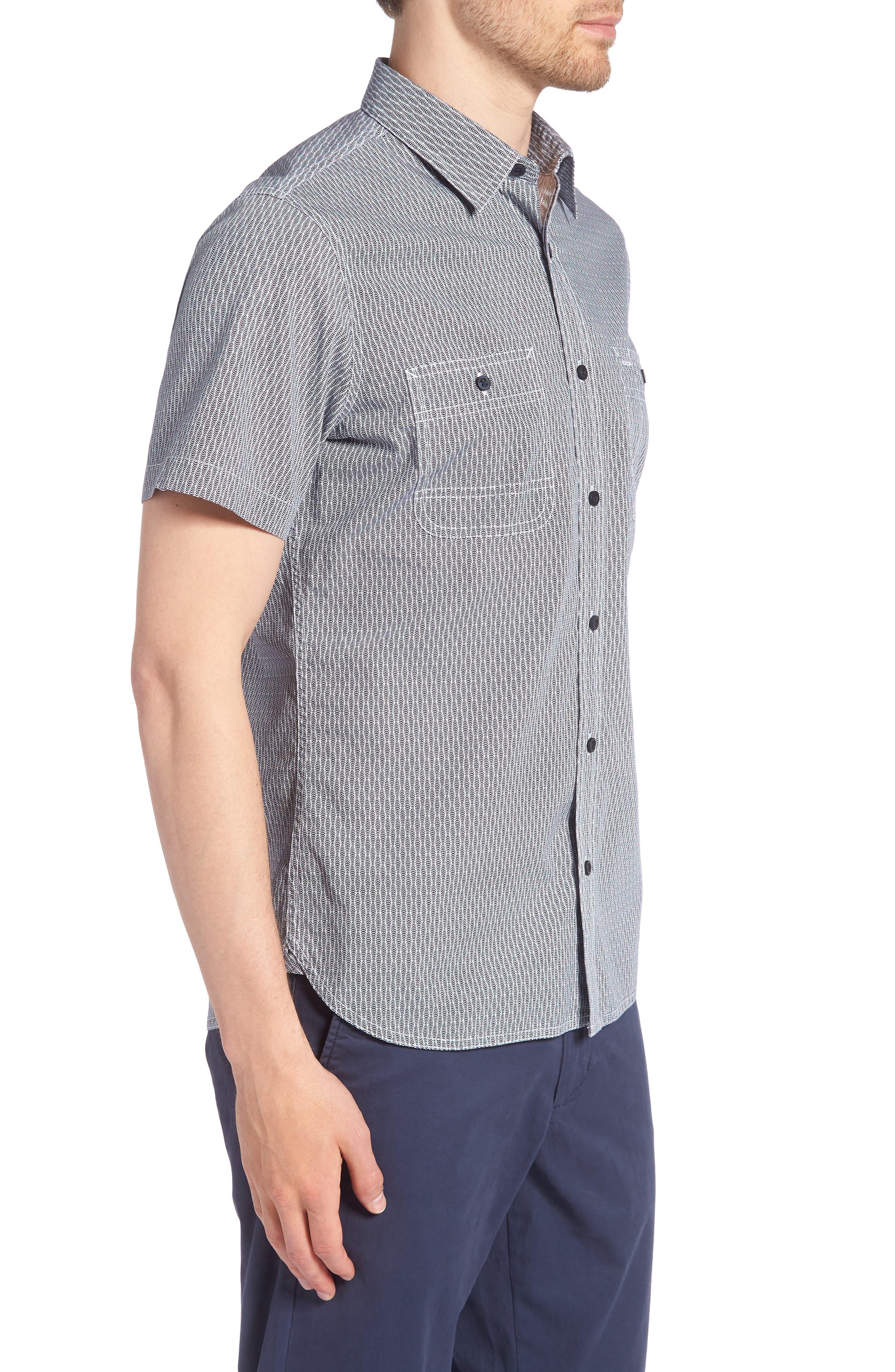 Workwear Trim Fit Print Sport Shirt,                             Alternate thumbnail 3, color,