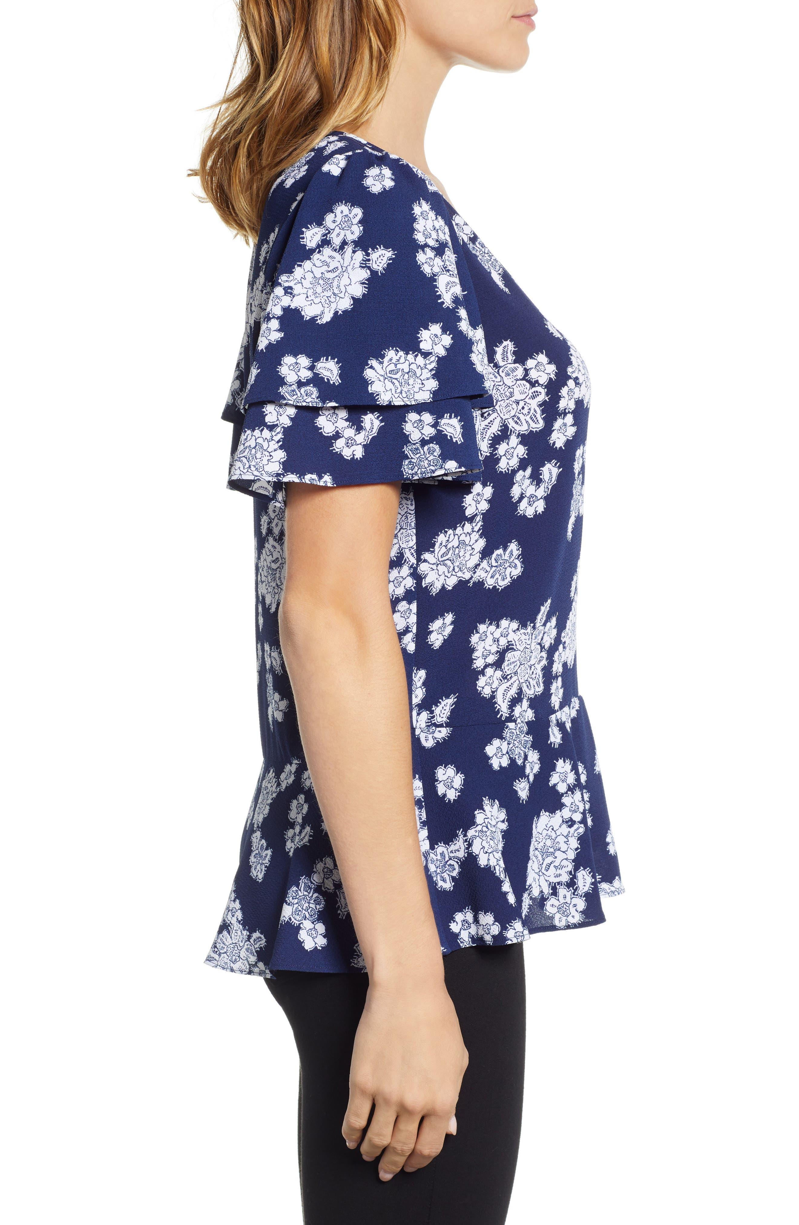 Tossed Lace Flowers Top,                             Alternate thumbnail 3, color,                             TRUE NAVY/ WHITE