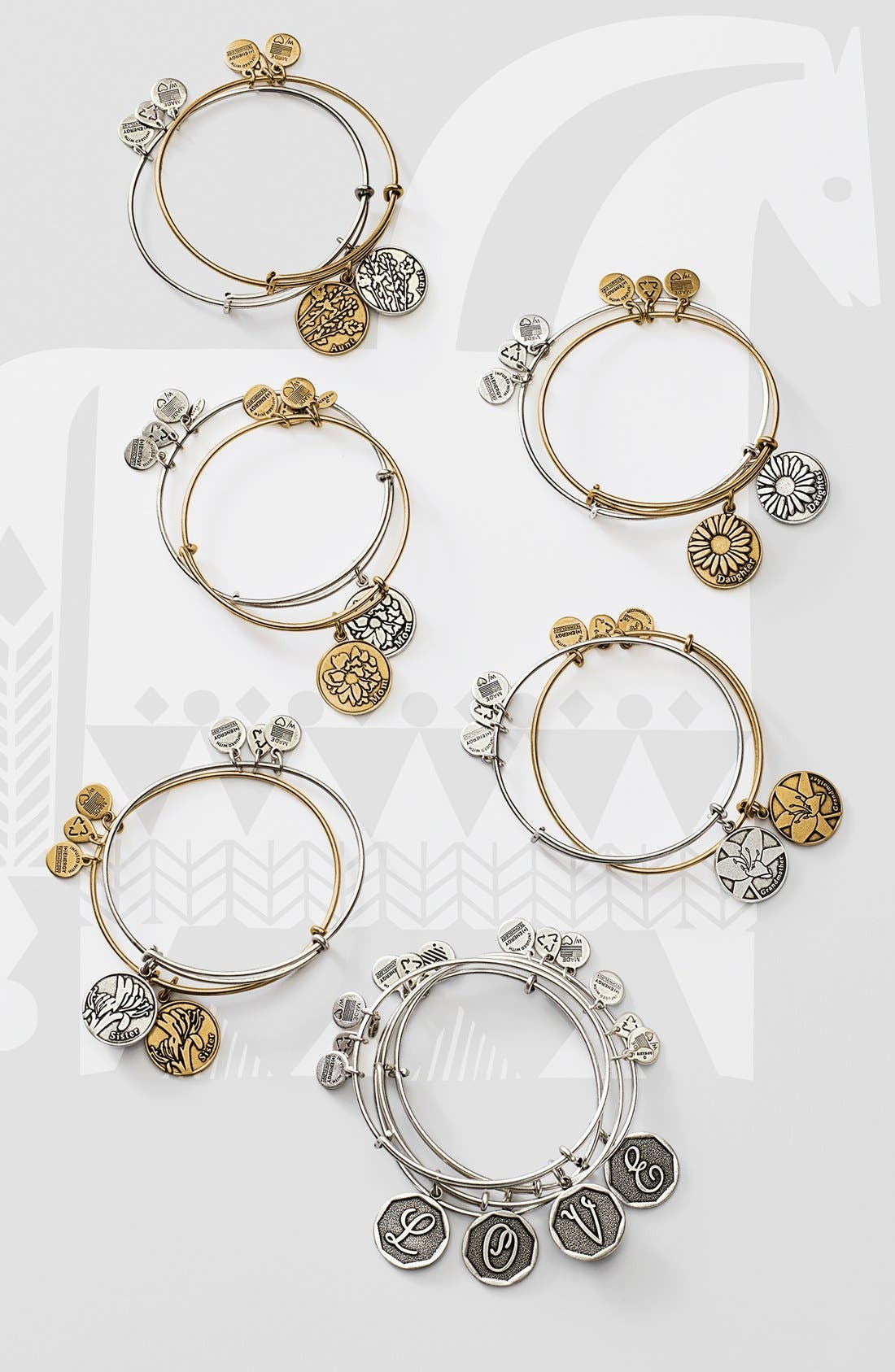 ALEX AND ANI,                             'Initial' Adjustable Wire Bangle,                             Alternate thumbnail 4, color,                             710