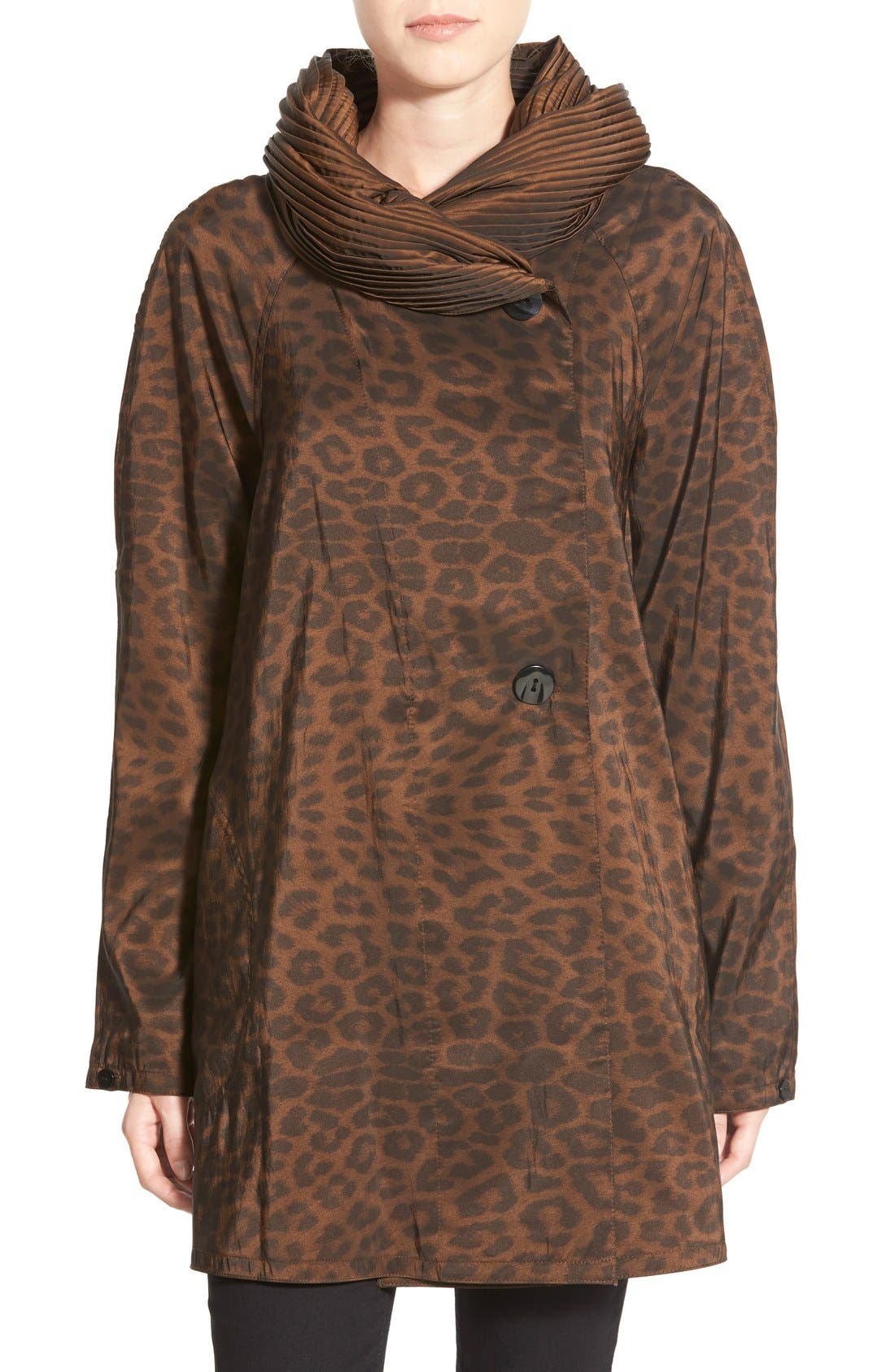 'Mini Donatella Leopard' Reversible Pleat Hood Packable Travel Coat,                             Alternate thumbnail 11, color,                             202