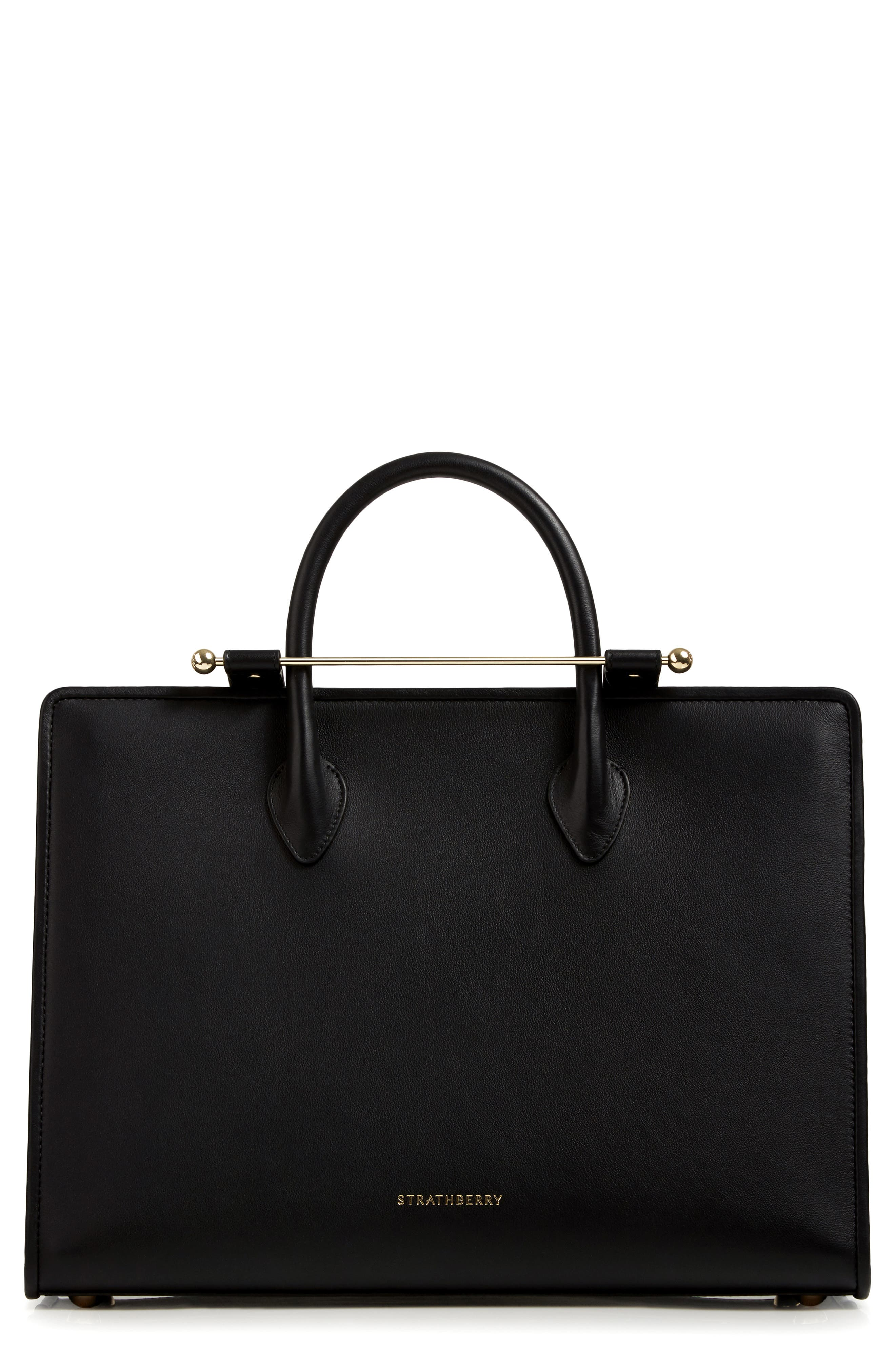 Large Leather Tote,                         Main,                         color, BLACK