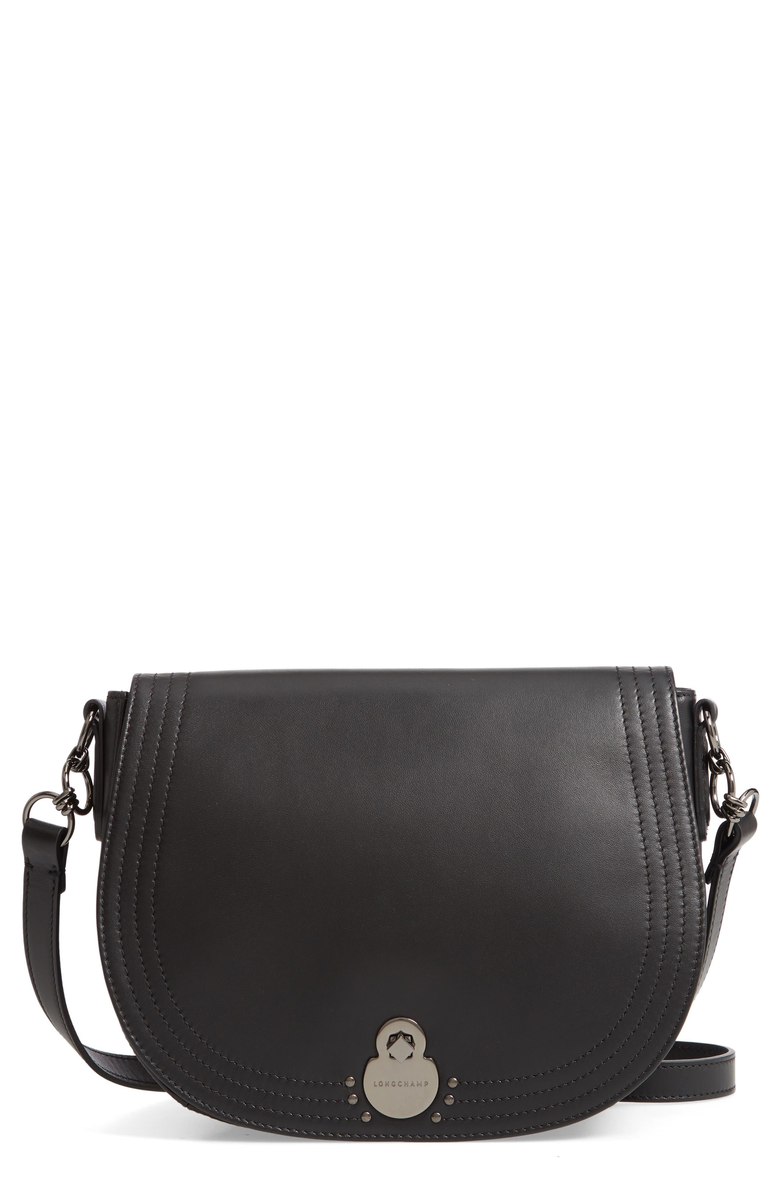 Medium Cavalcade Leather Saddle Bag,                             Main thumbnail 1, color,                             BLACK