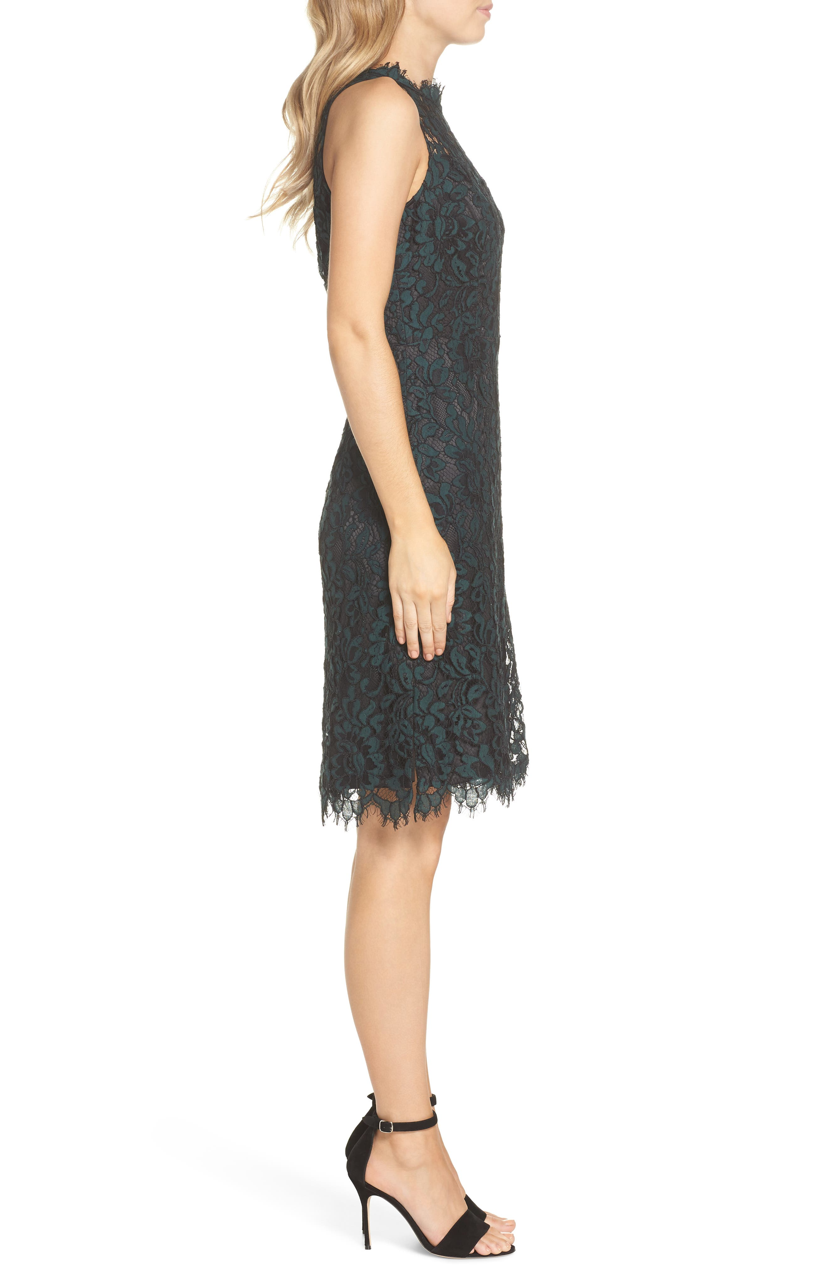 ELIZA J,                             High Neck Lace Sheath Dress,                             Alternate thumbnail 3, color,                             GREEN