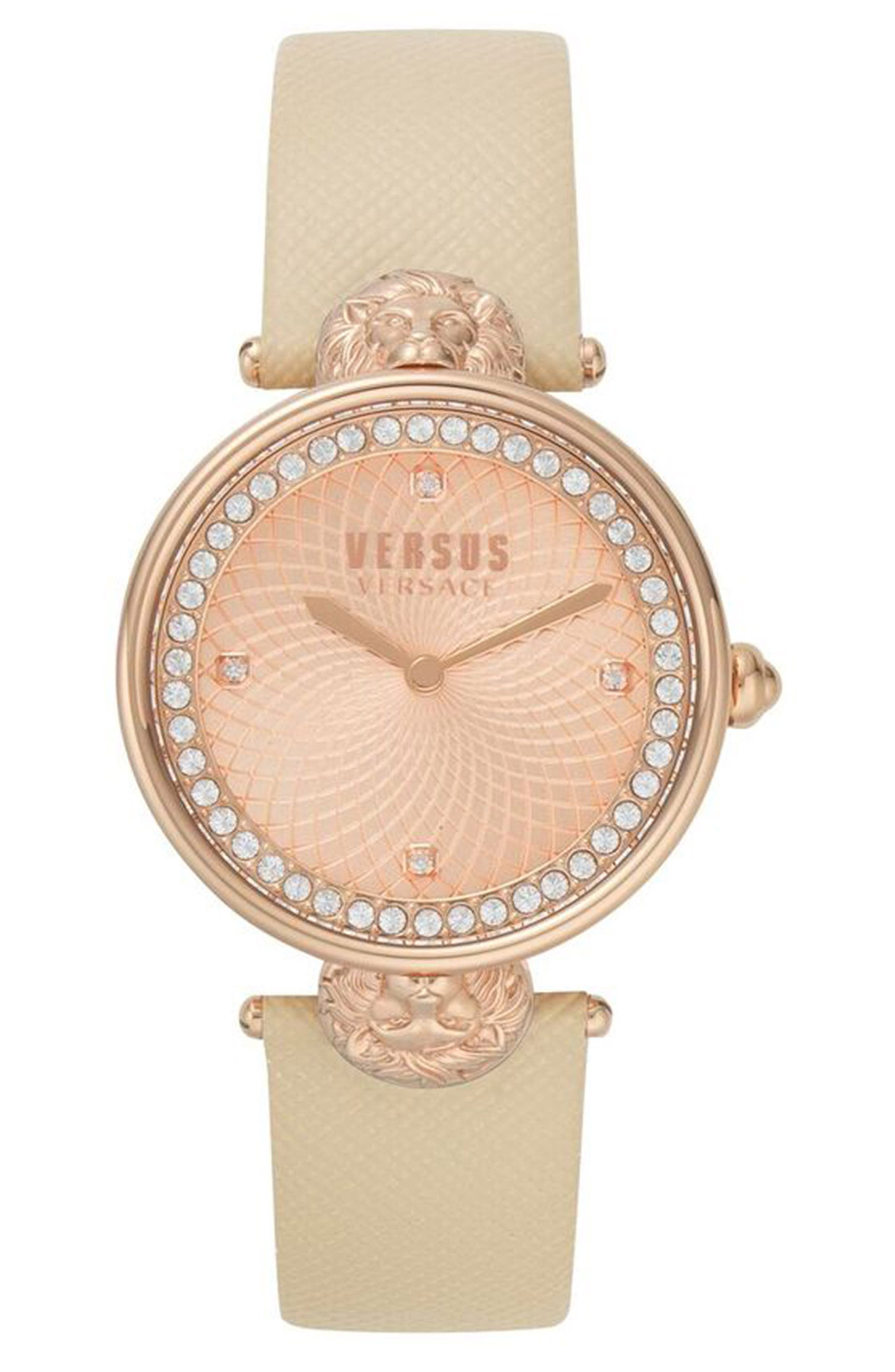 VERSUS Versace Victoria Leather Strap Watch, 34mm, Main, color, BEIGE/ ROSE GOLD