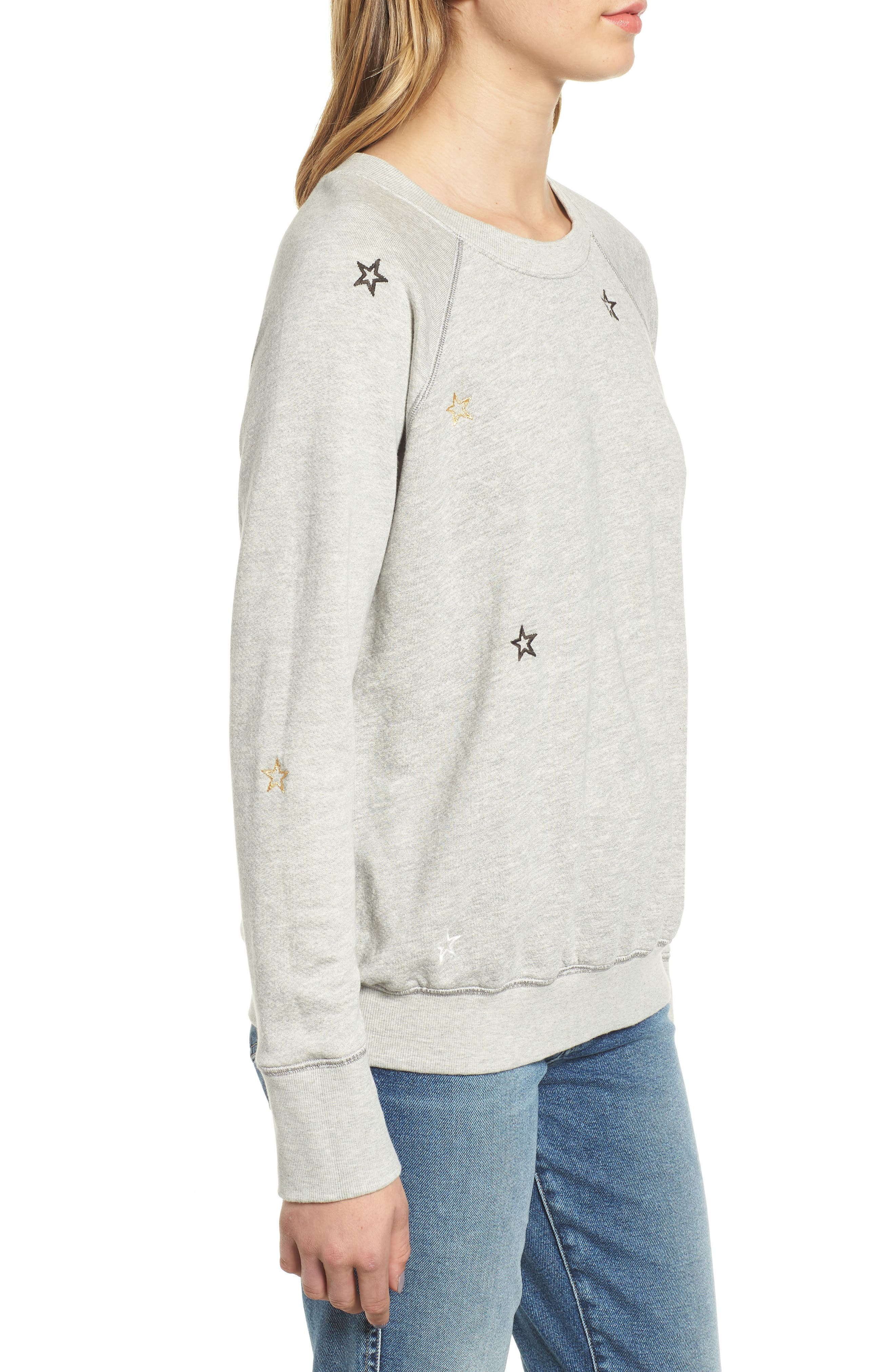 Star Embroidered Sweatshirt,                             Alternate thumbnail 3, color,                             HEATHER GREY