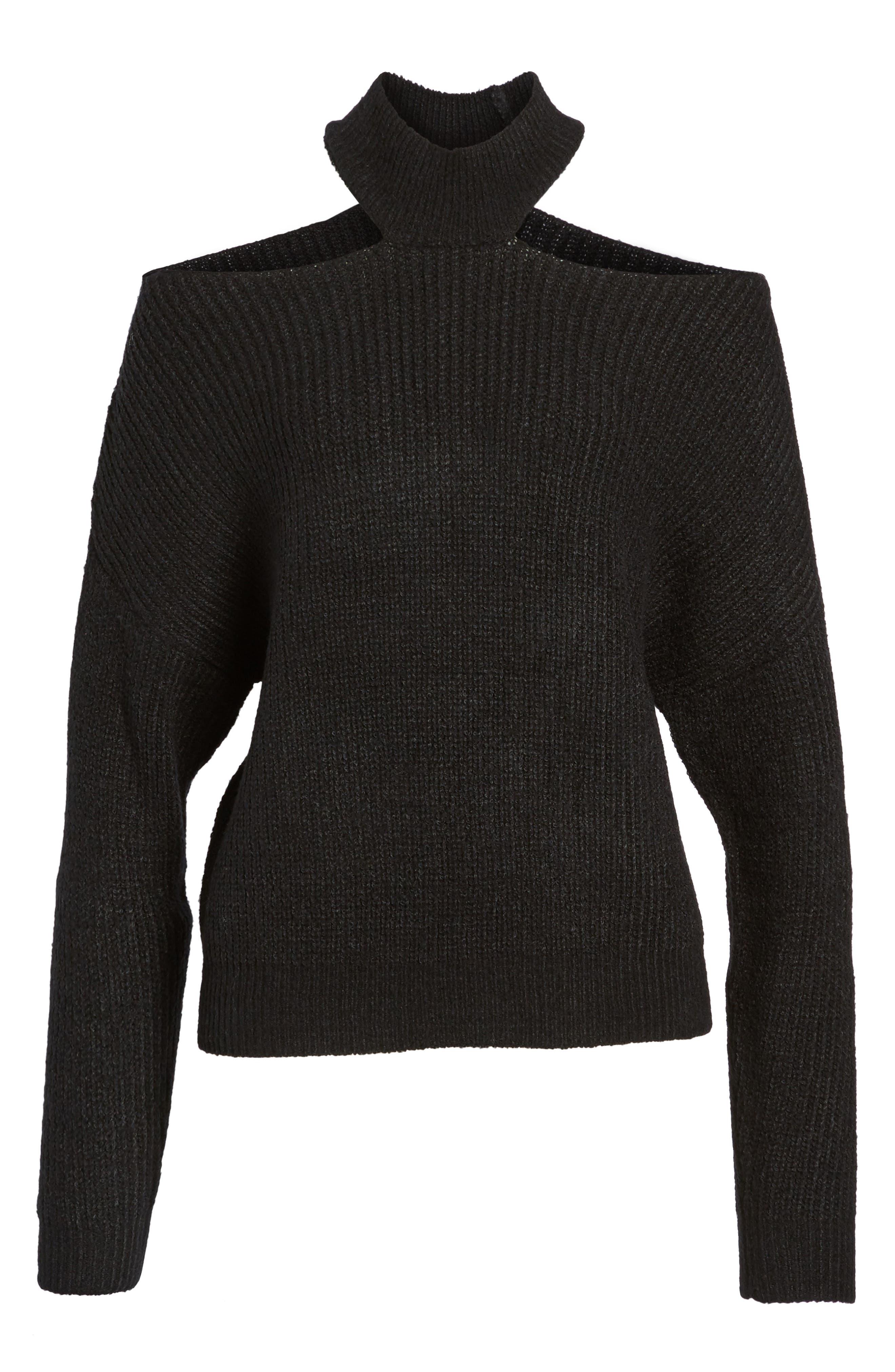 Cutout Turtleneck Sweater,                             Alternate thumbnail 6, color,                             001