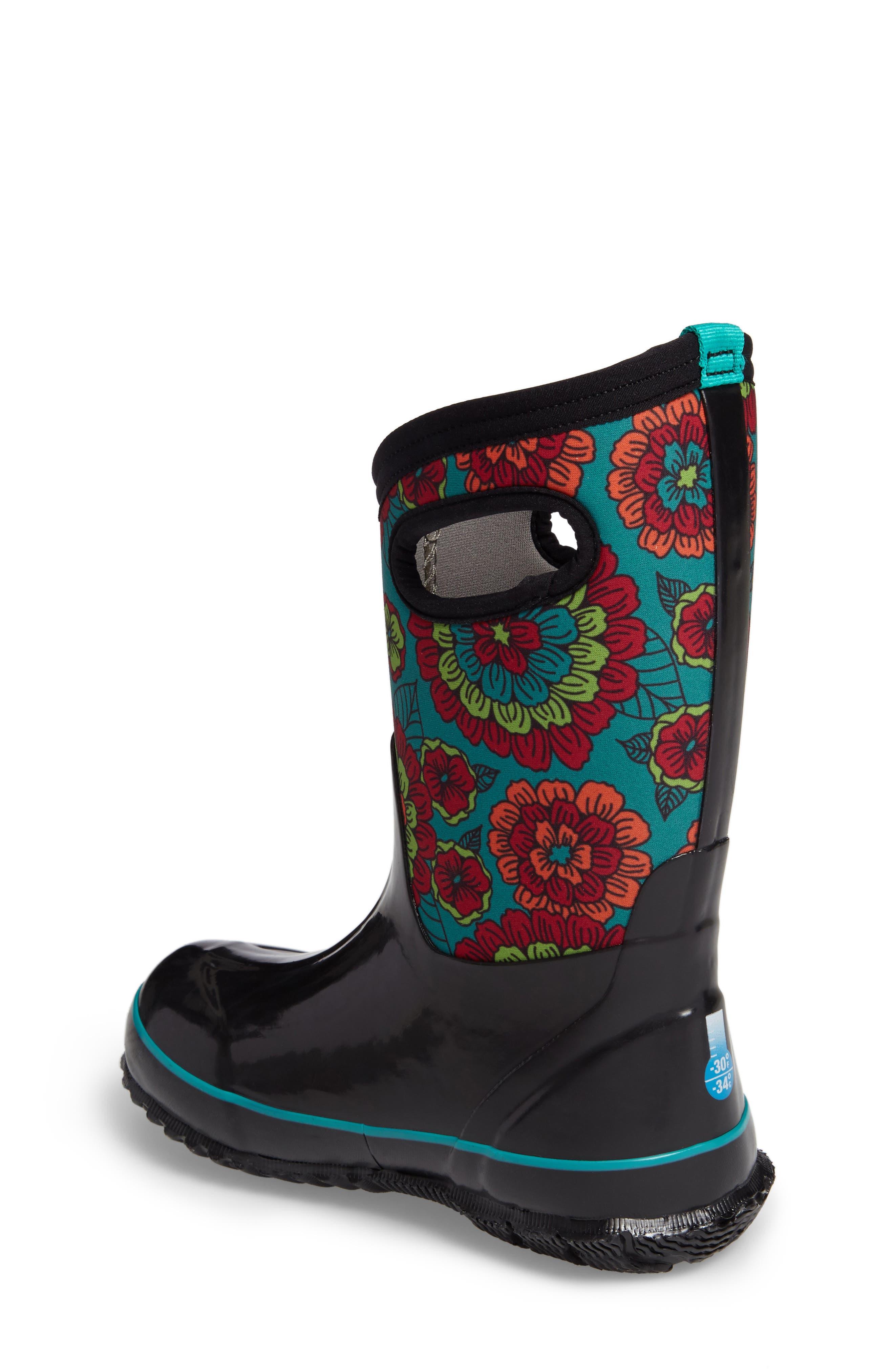 Classic Pansies Insulated Waterproof Rain Boot,                             Alternate thumbnail 2, color,                             BLACK MULTI