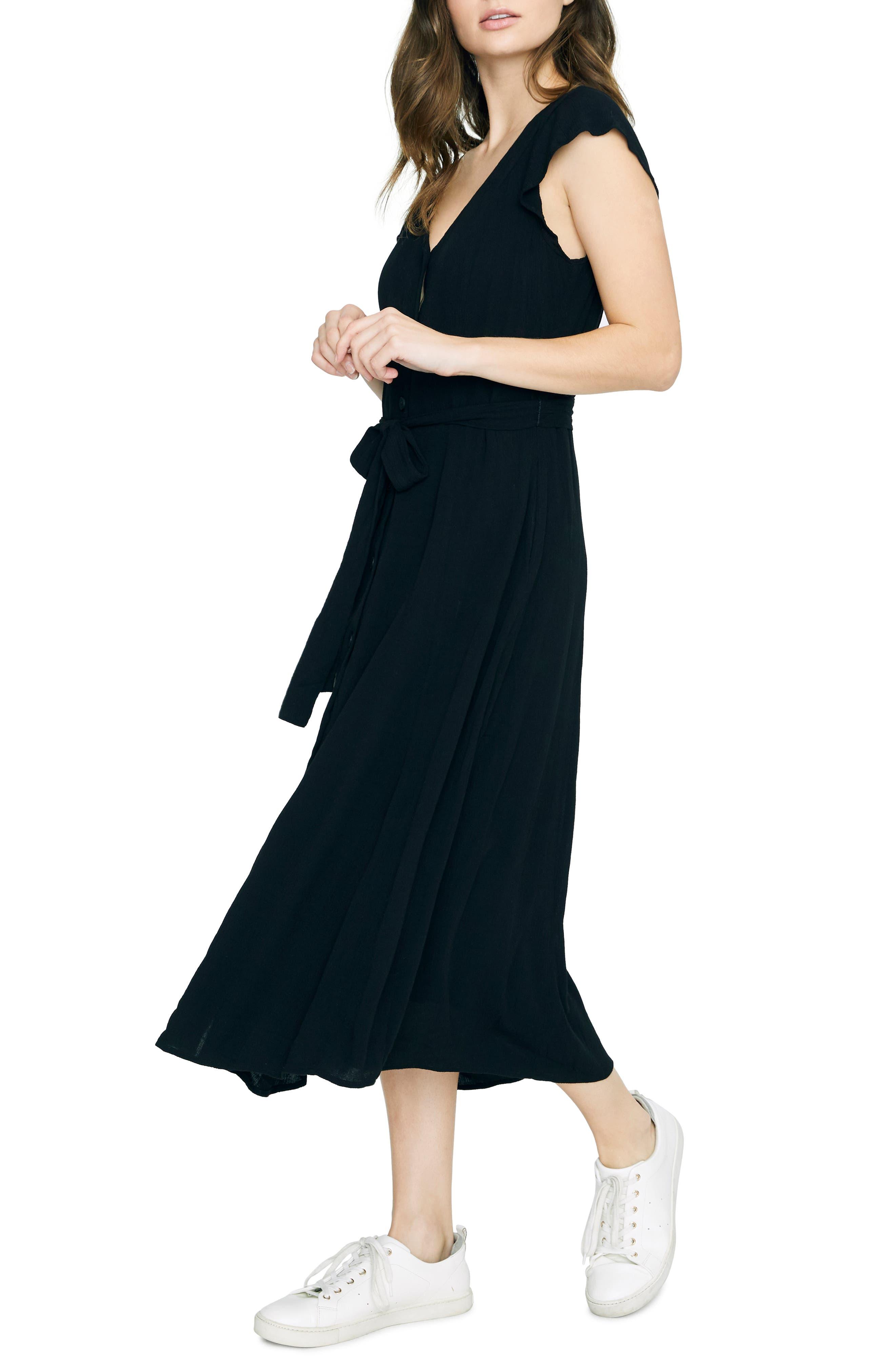 Sanctuary Eden Front Button Midi Dress, Black