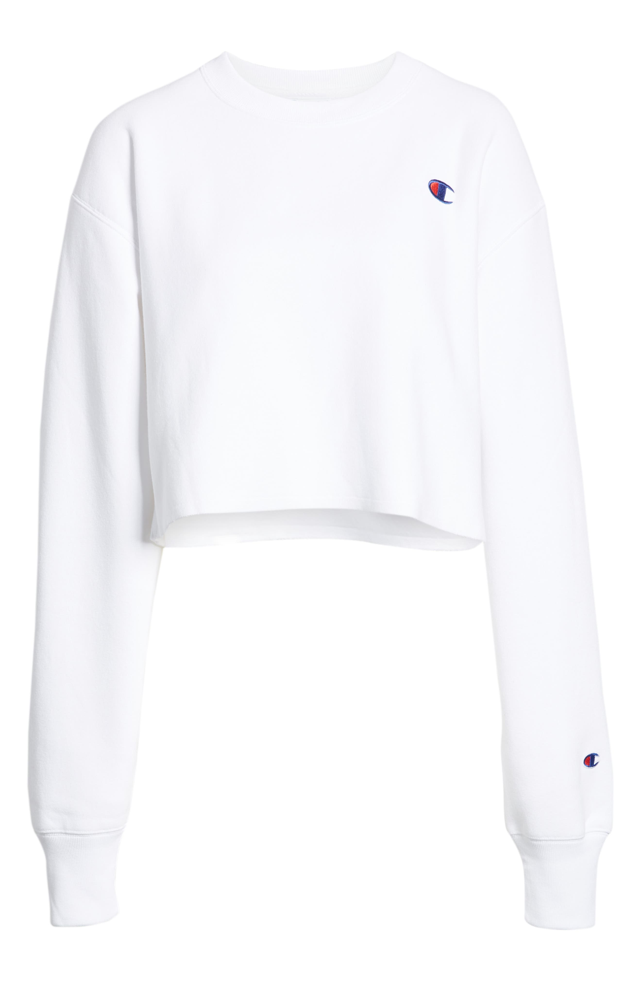 Crop Reverse Weave Sweatshirt,                             Alternate thumbnail 4, color,                             WHITE