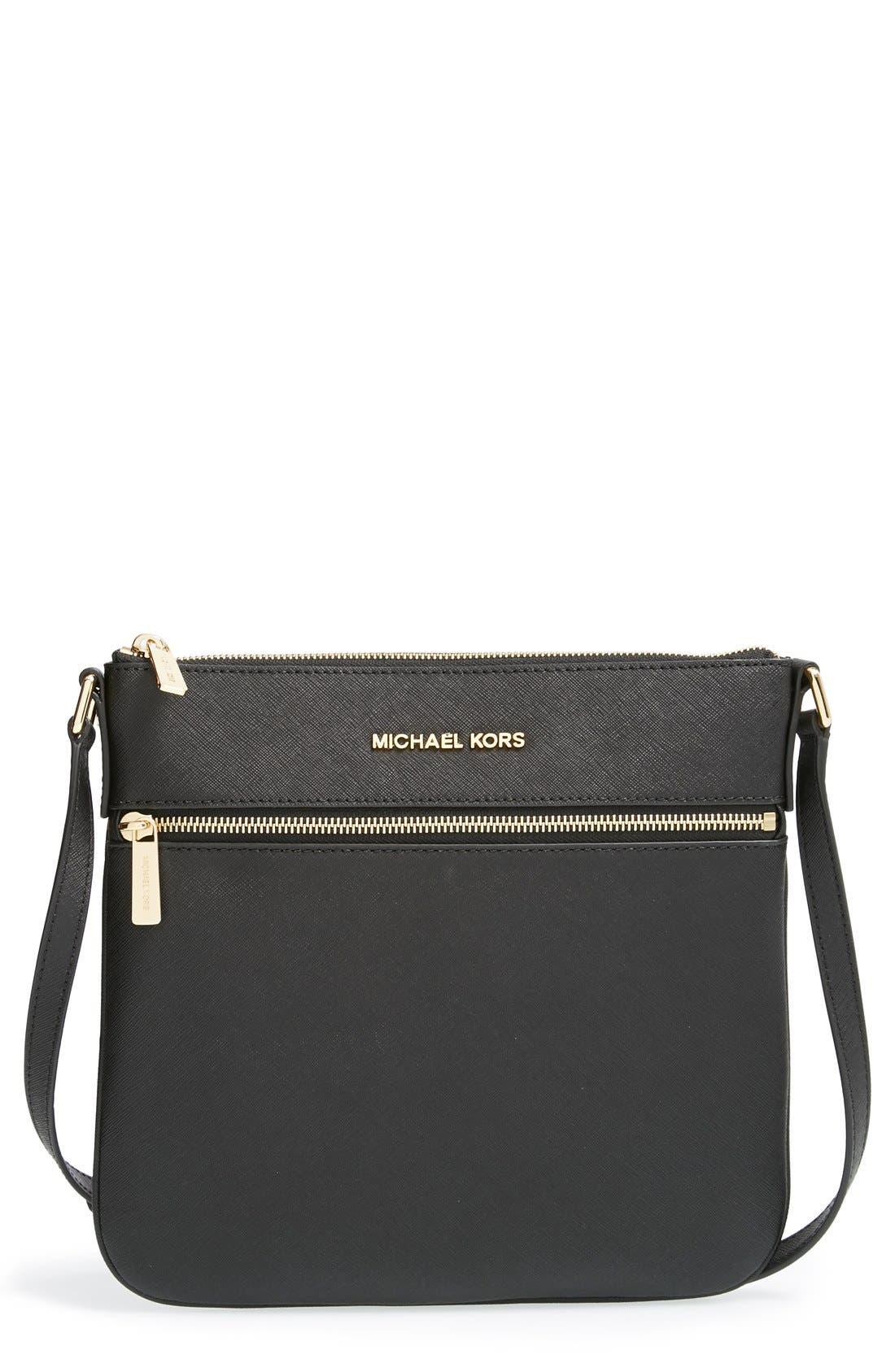 'Bedford' Saffiano Leather Flat Crossbody Bag, Main, color, 001