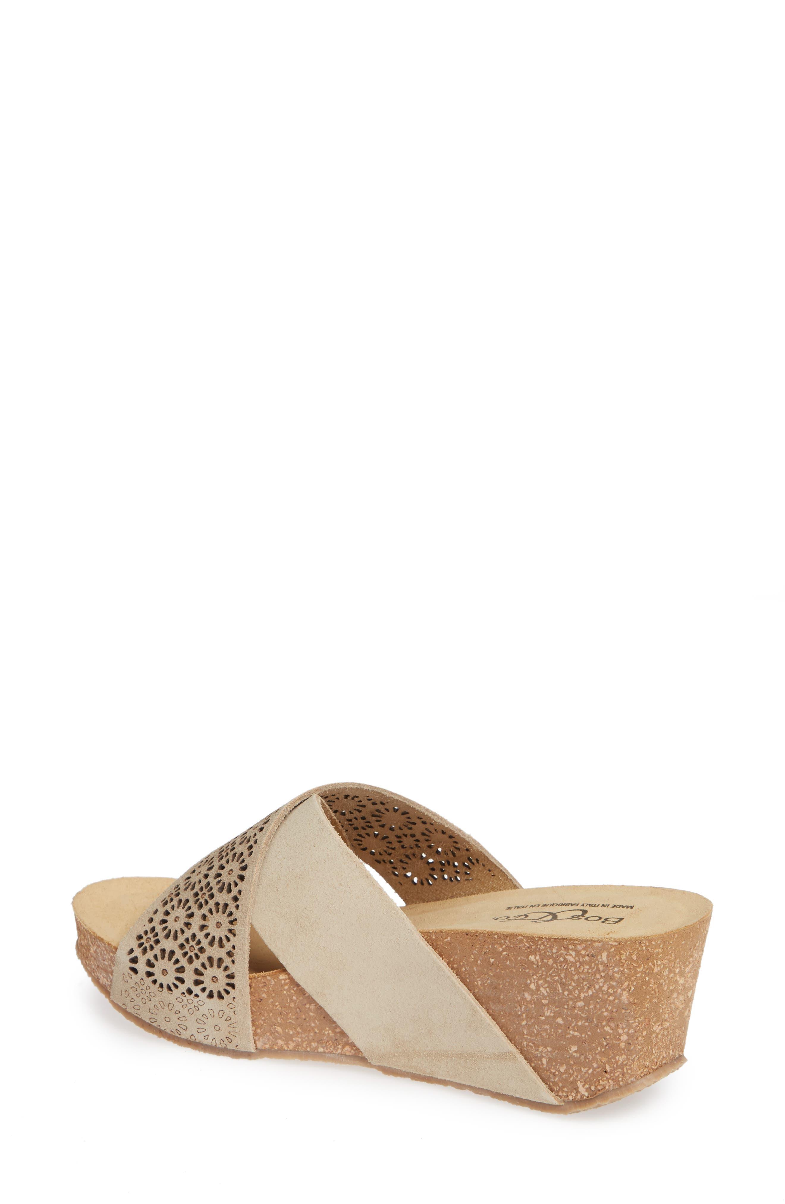 Lomi Platform Wedge Slide Sandal,                             Alternate thumbnail 2, color,                             BEIGE SUEDE