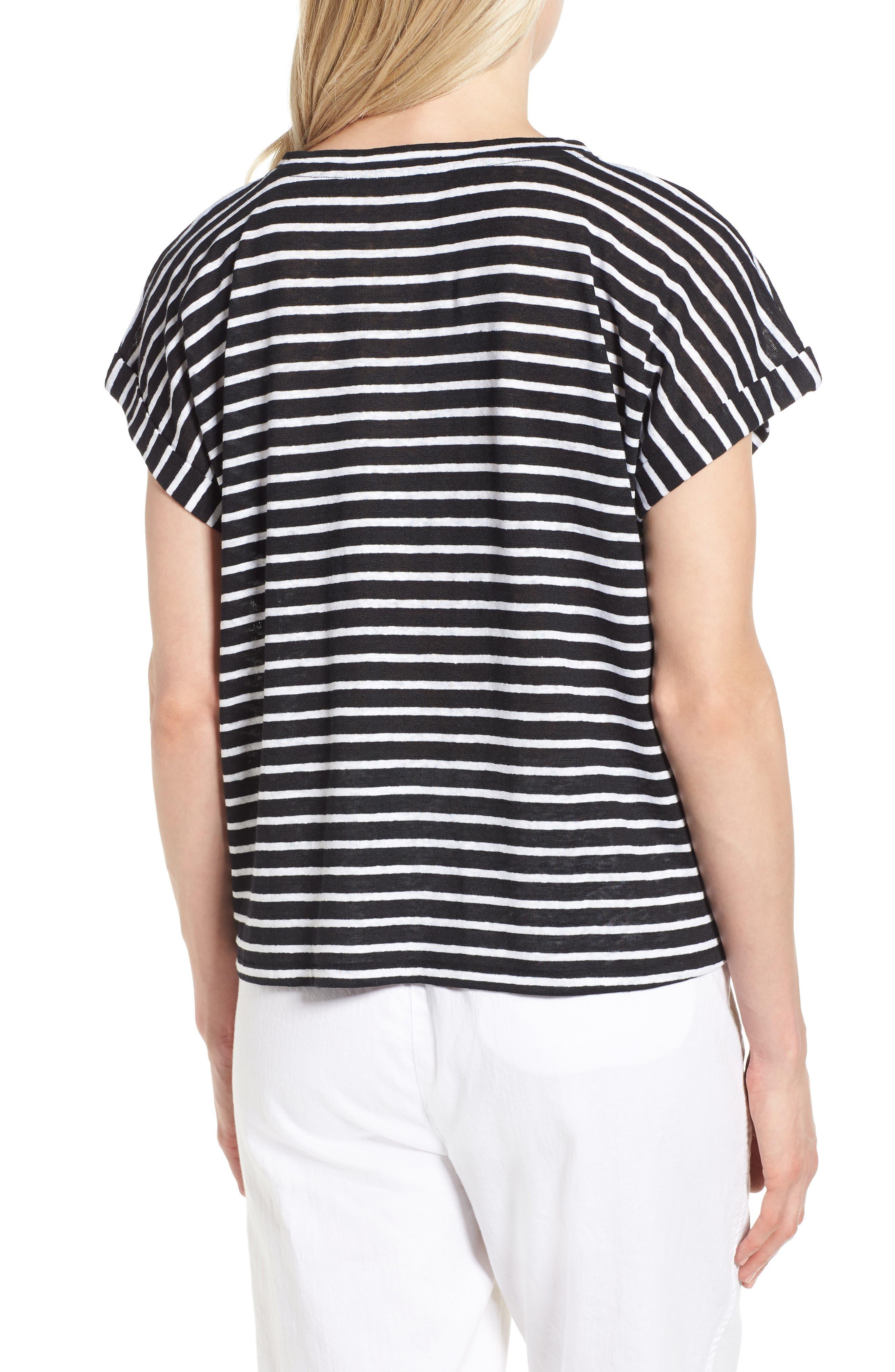 Stripe Boxy Organic Linen Top,                             Alternate thumbnail 2, color,                             018