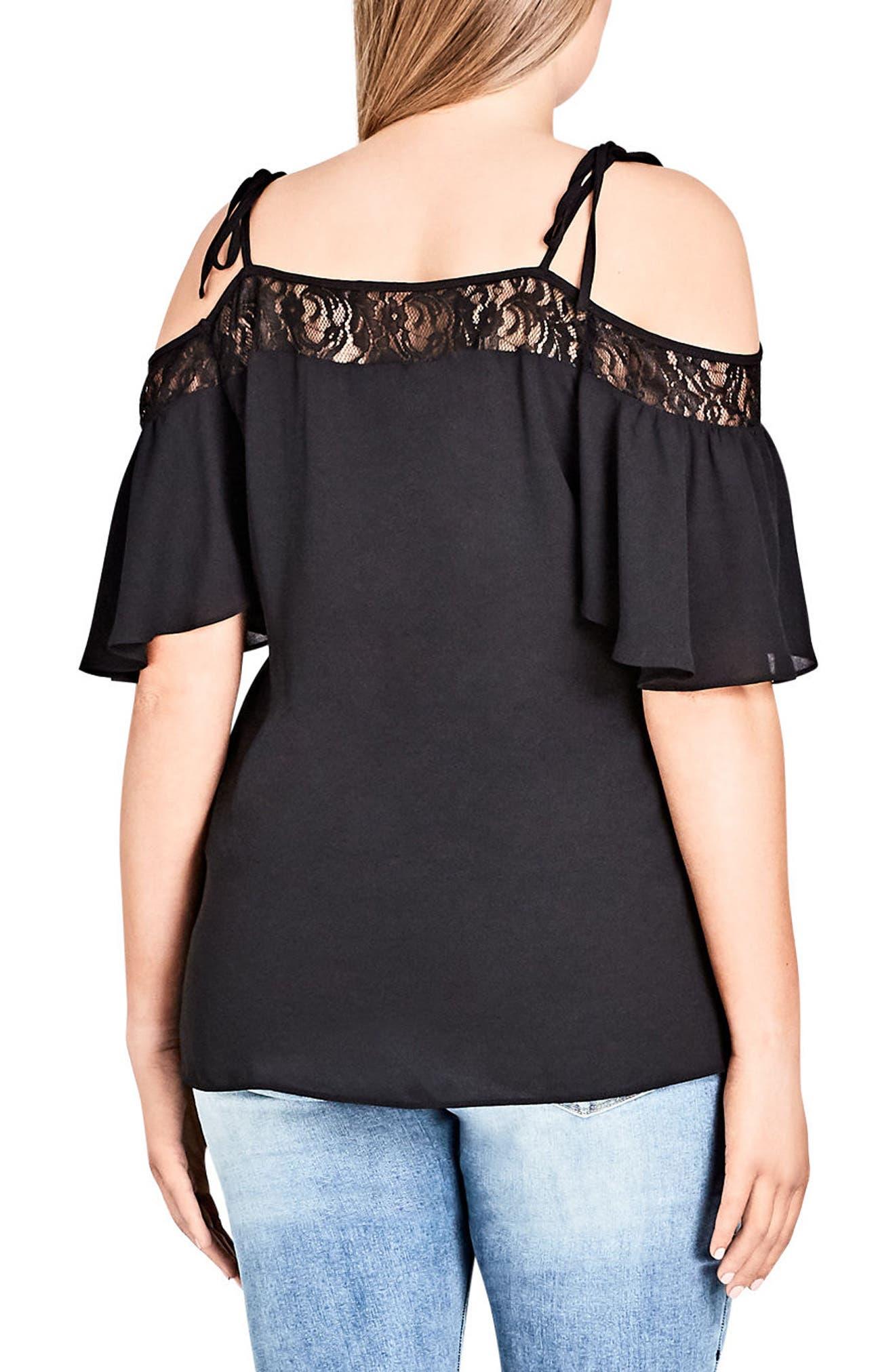 Lace Trim Off-Shoulder Top,                             Alternate thumbnail 2, color,                             002
