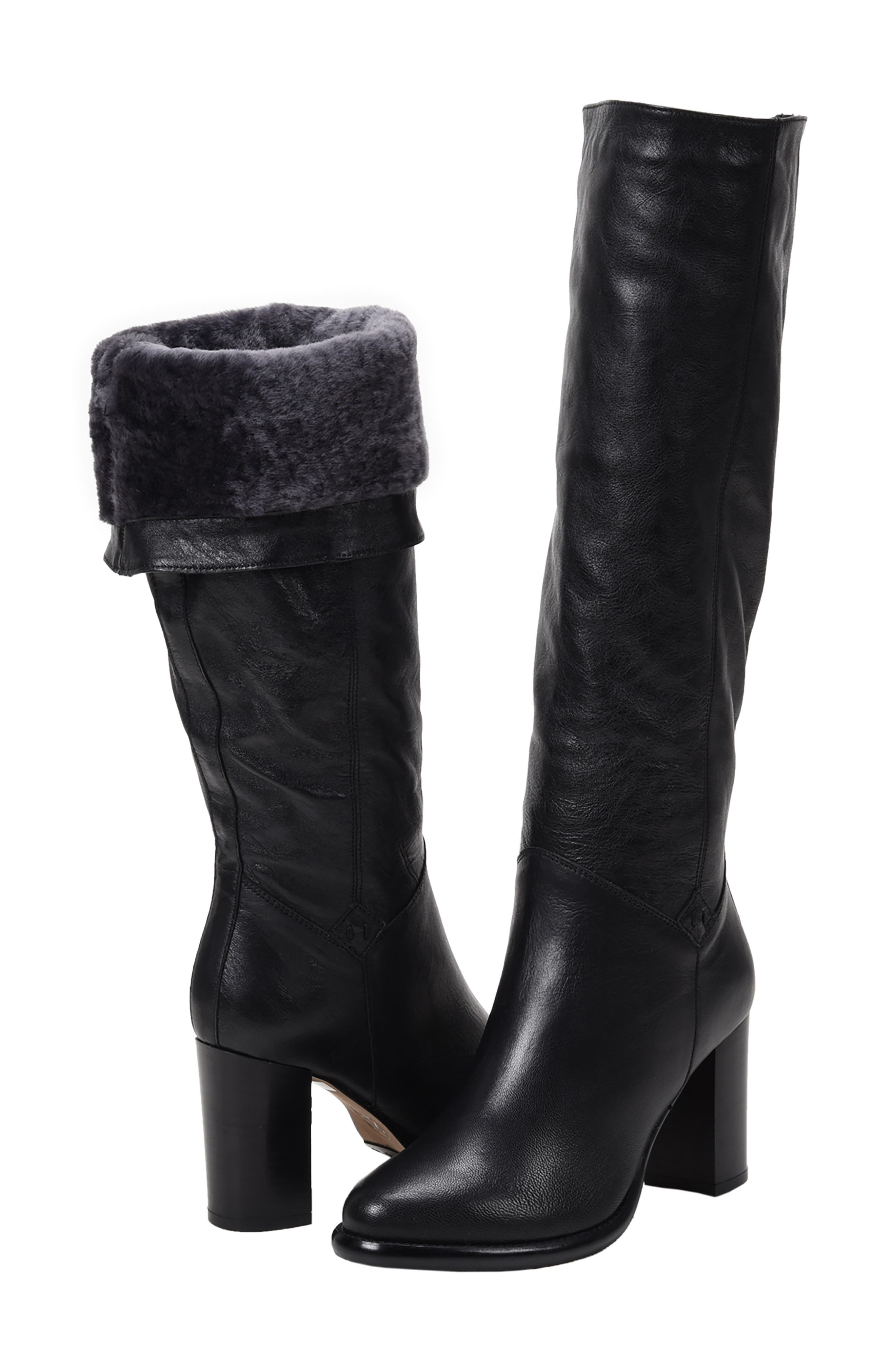 Michela SP Waterproof Genuine Shearling Lined Boot,                             Alternate thumbnail 7, color,                             BLACK METALLIC LEATHER