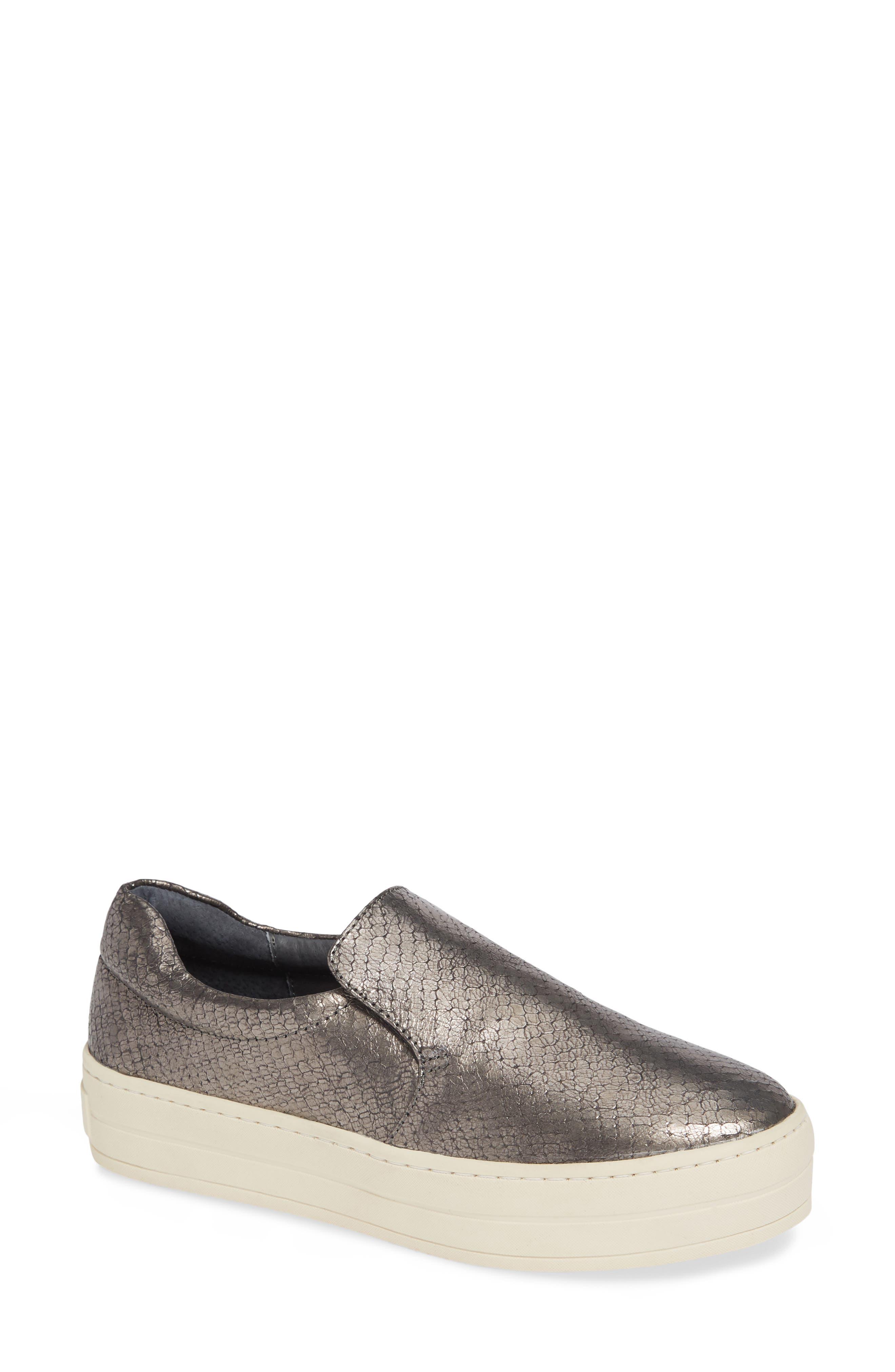 Harry Slip-On Sneaker in Pewter Embossed Leather