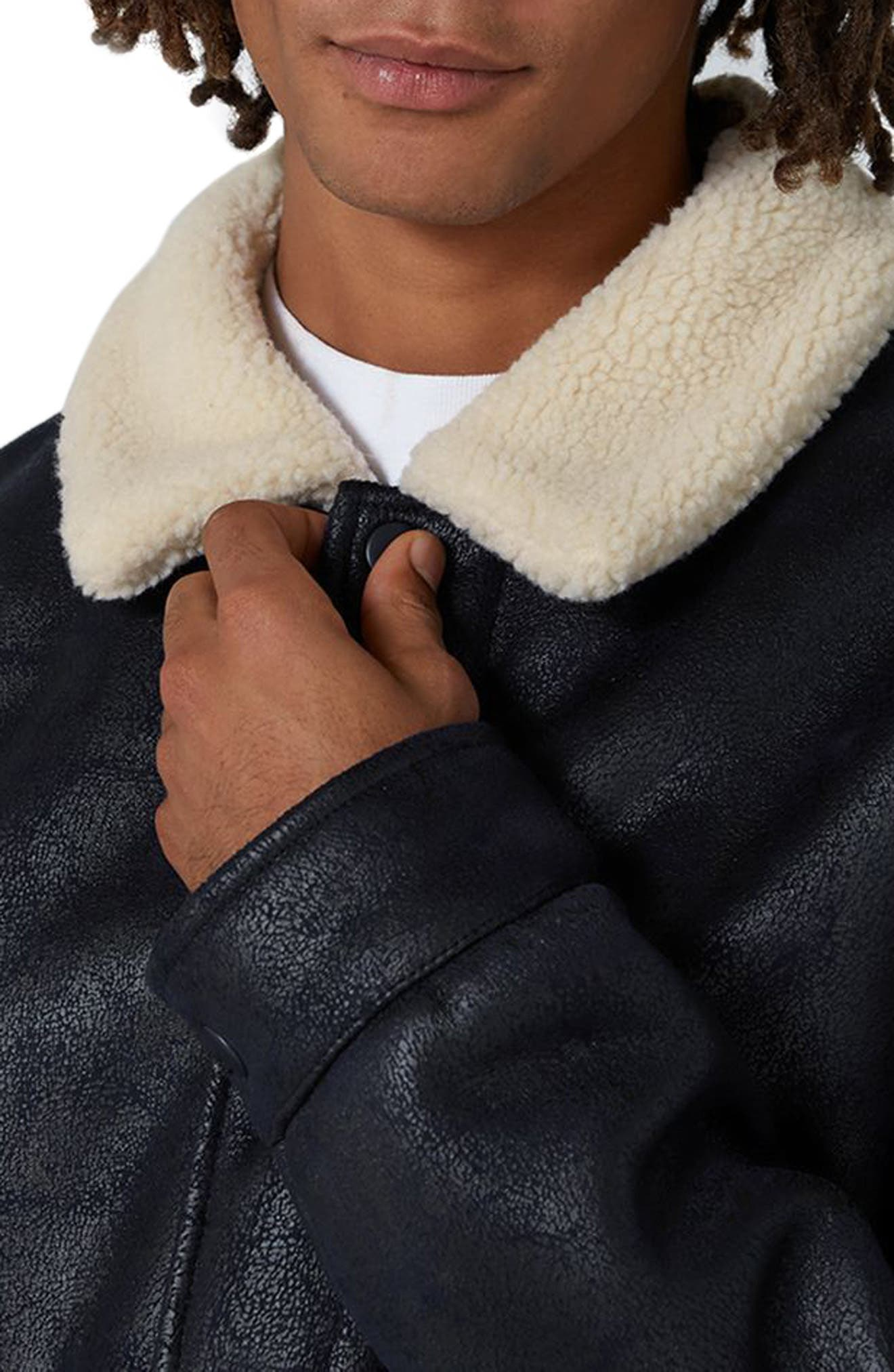 Faux Shearling Jacket,                             Alternate thumbnail 3, color,                             401