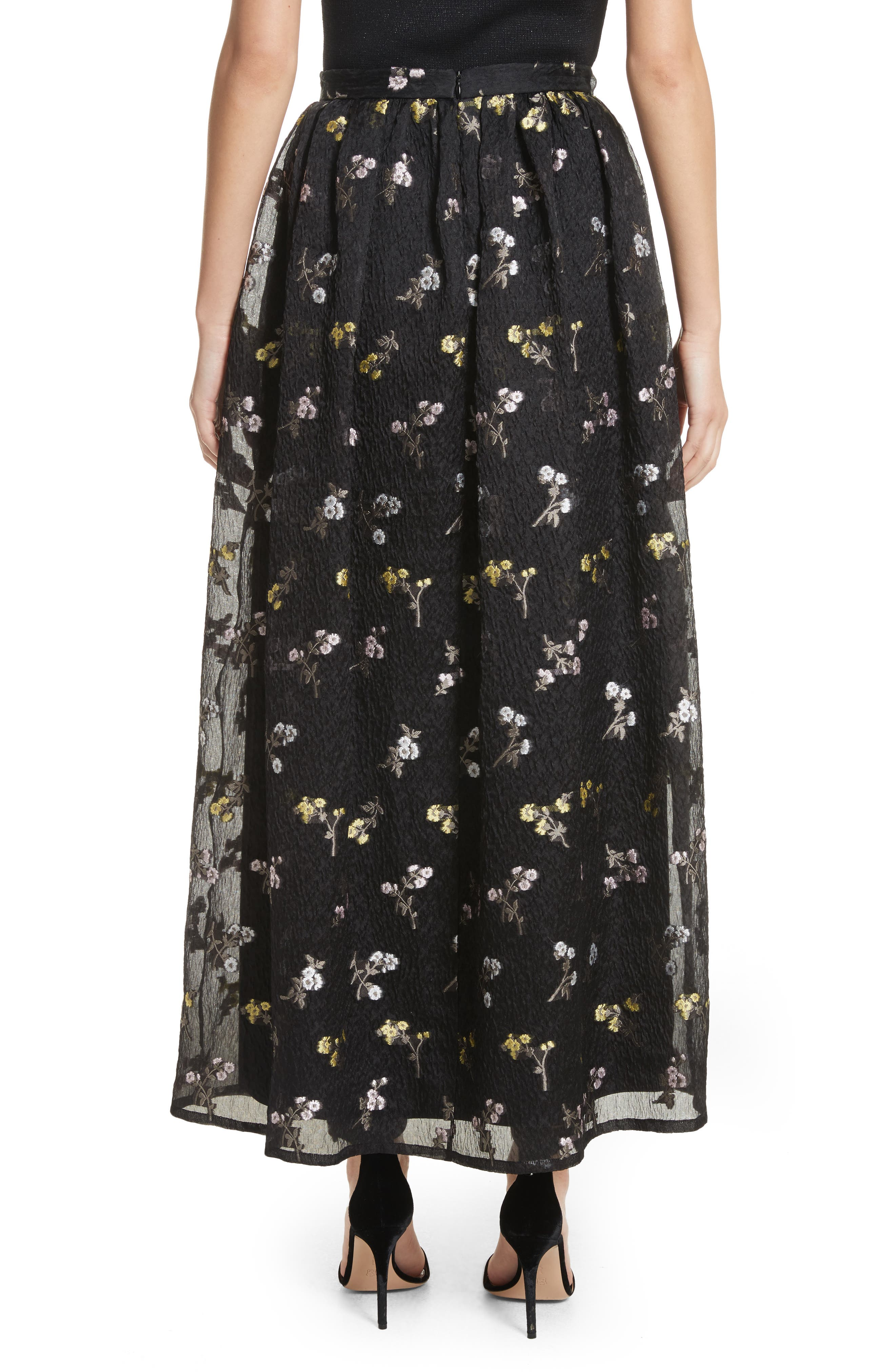 Floral Fil Coupé Organza Cloque Maxi Skirt,                             Alternate thumbnail 2, color,                             001