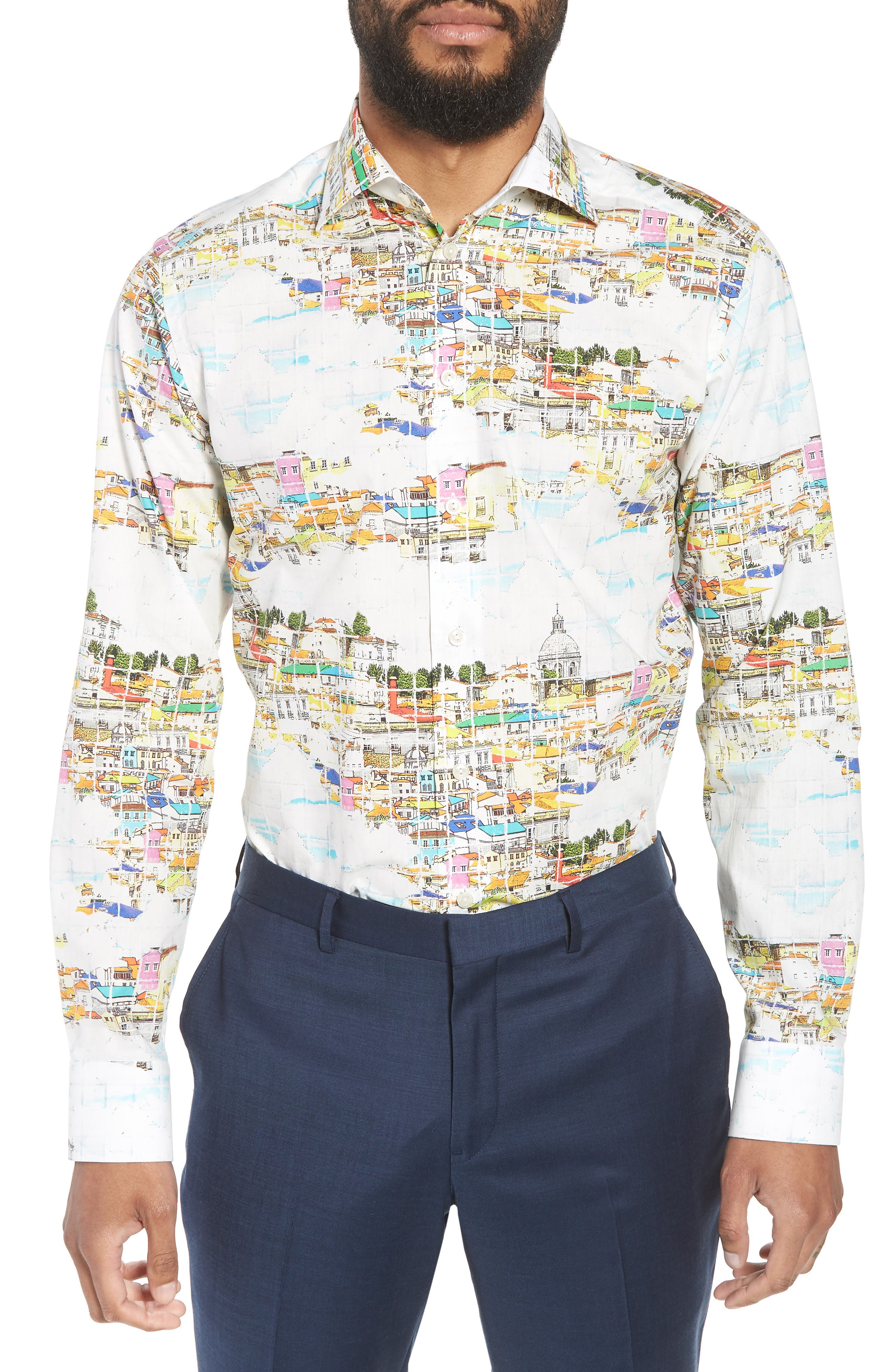 Slim Fit Print Dress Shirt,                             Main thumbnail 1, color,                             YELLOW