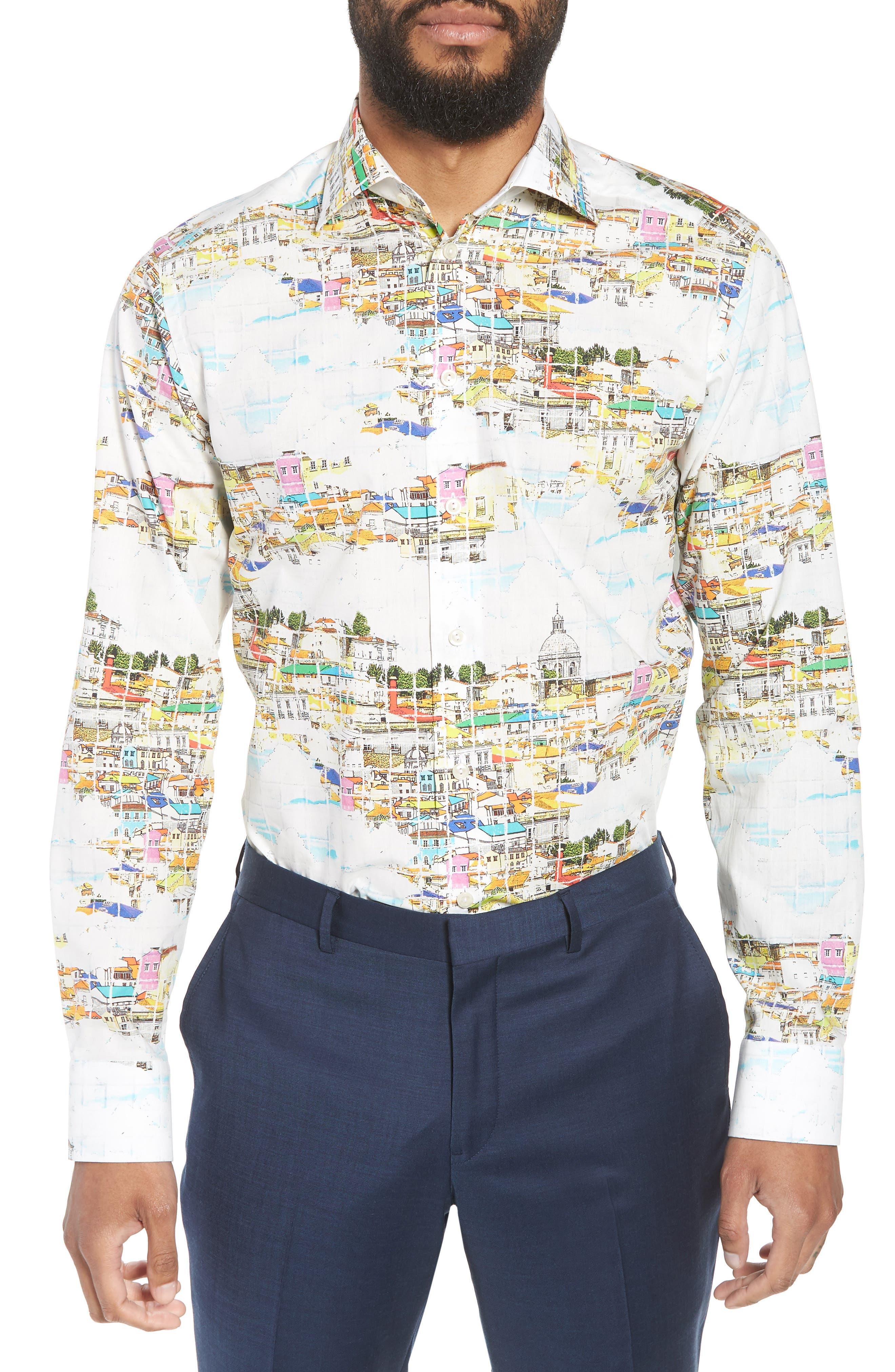 Slim Fit Print Dress Shirt,                         Main,                         color, YELLOW