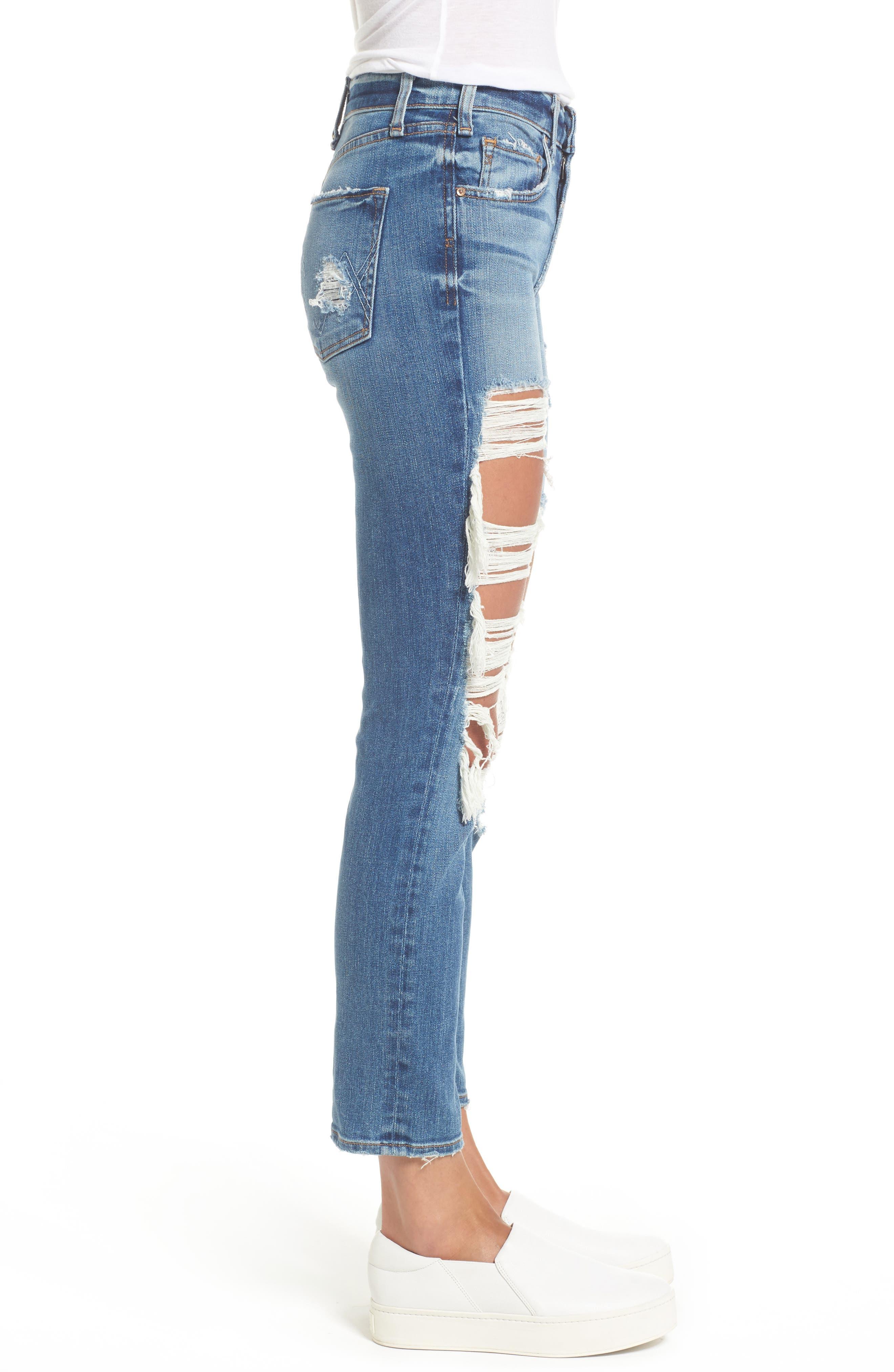 Windsor Destroyed High Waist Straight Leg Jeans,                             Alternate thumbnail 6, color,