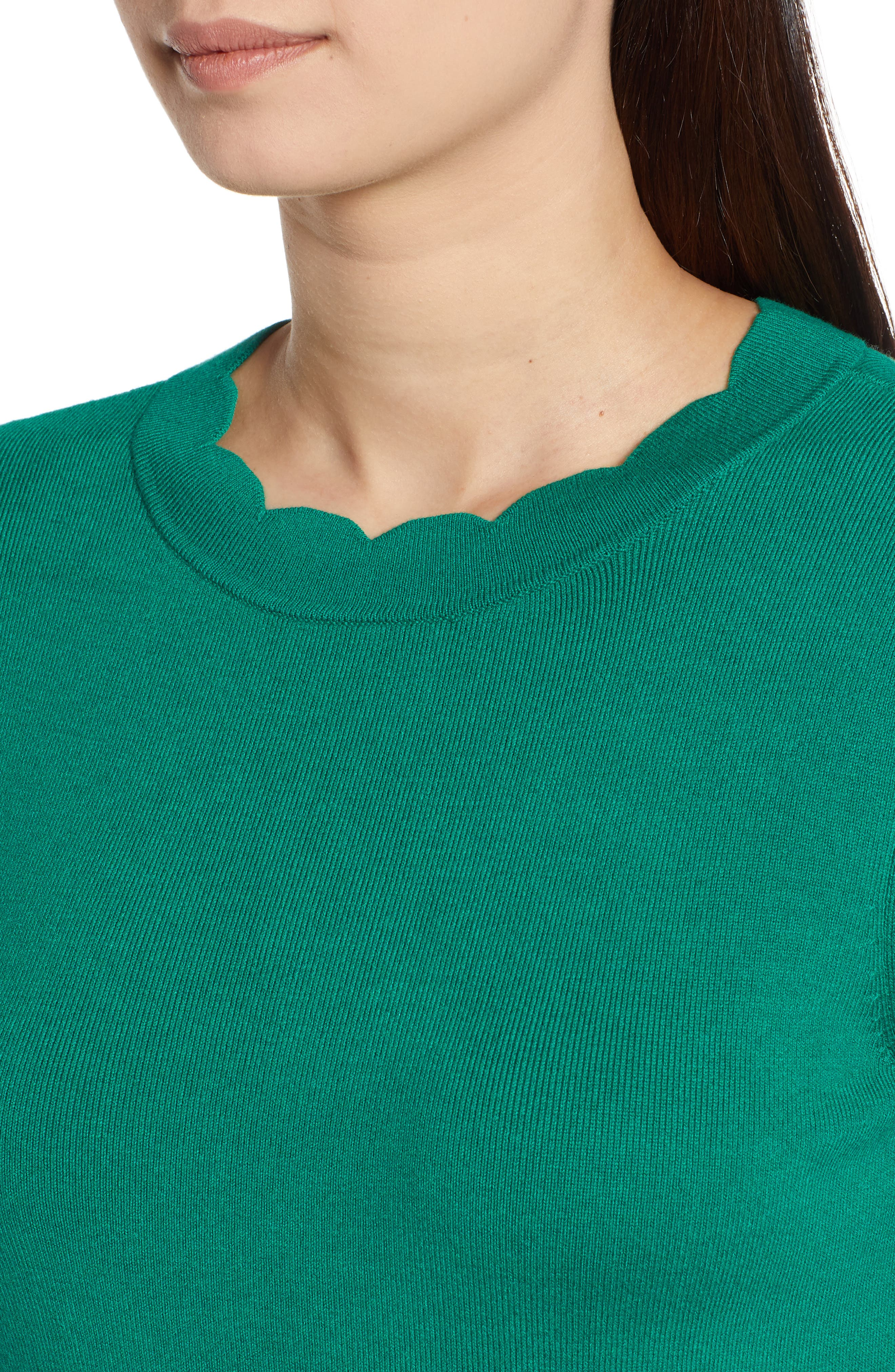 Halogen Scallop Edge Sweater,                             Alternate thumbnail 35, color,