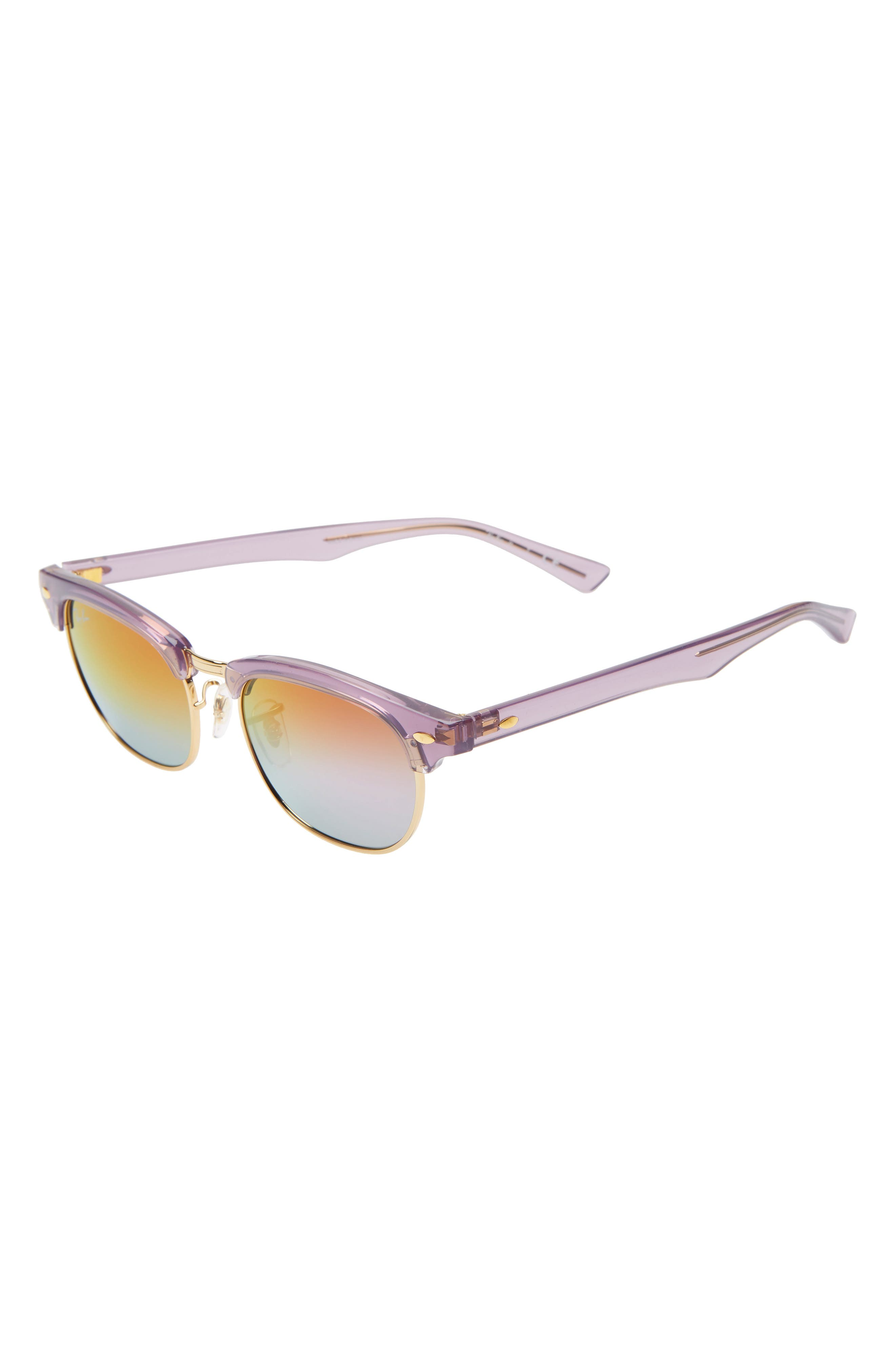 Ray-Ban Junior Clubmaster 47Mm Sunglasses - Violet/ Violet Gradient Mirror