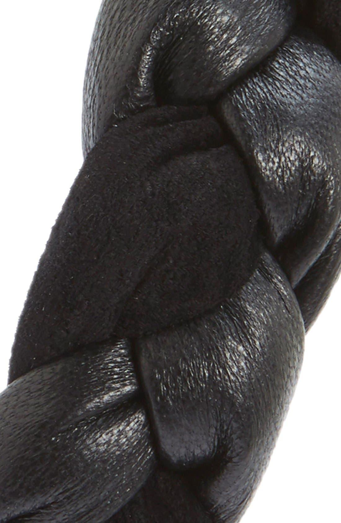 'Amina' Braided Leather & Velvet Knot Headband,                             Alternate thumbnail 2, color,                             001