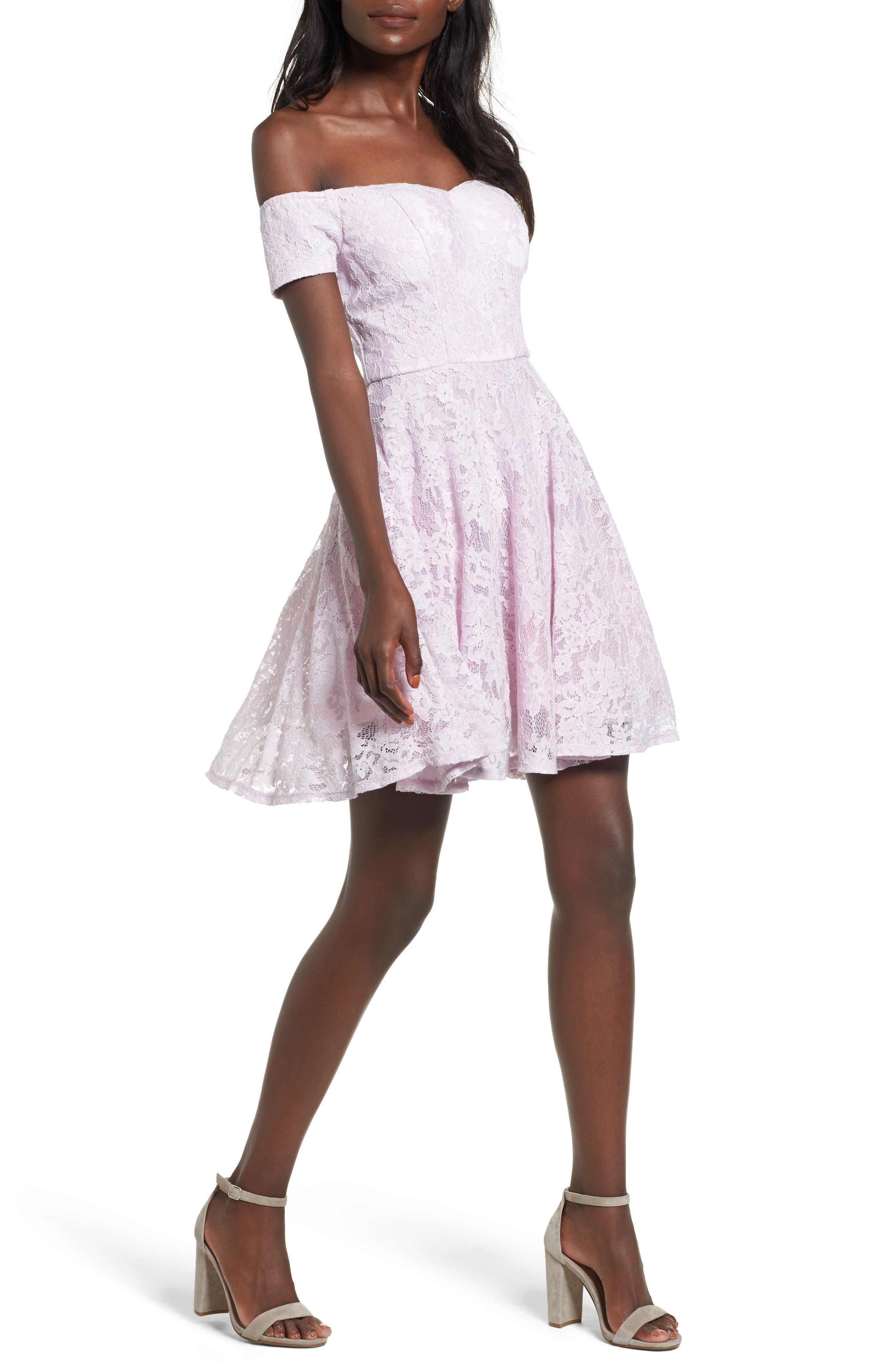 Lace Off the Shoulder Fit & Flare Dress,                             Main thumbnail 2, color,