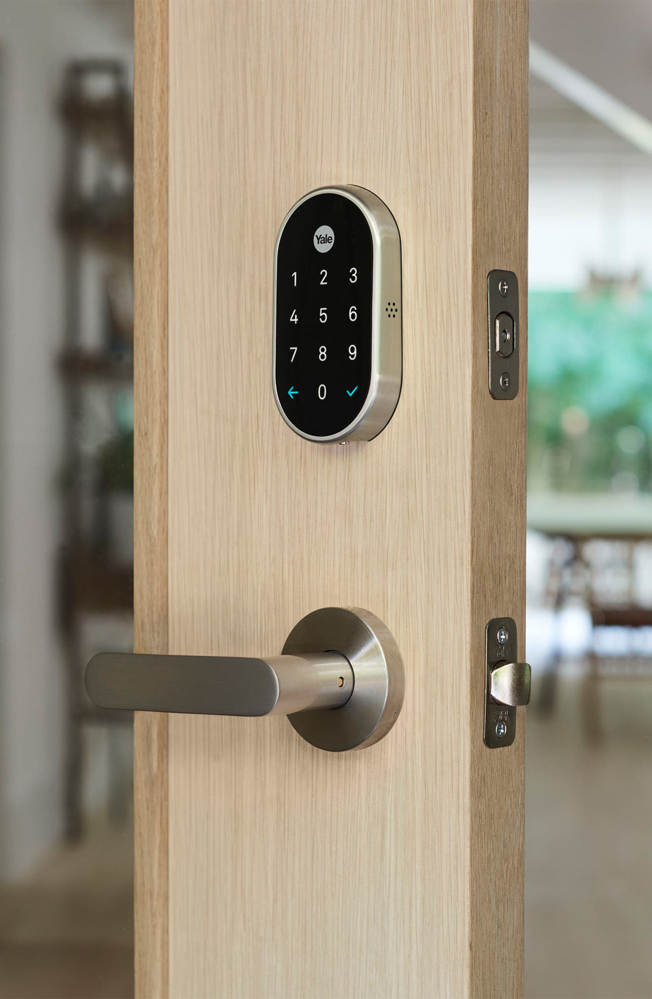 x Yale Passcode Deadbolt Lock with Nest Connect,                             Alternate thumbnail 4, color,                             SATIN NICKEL