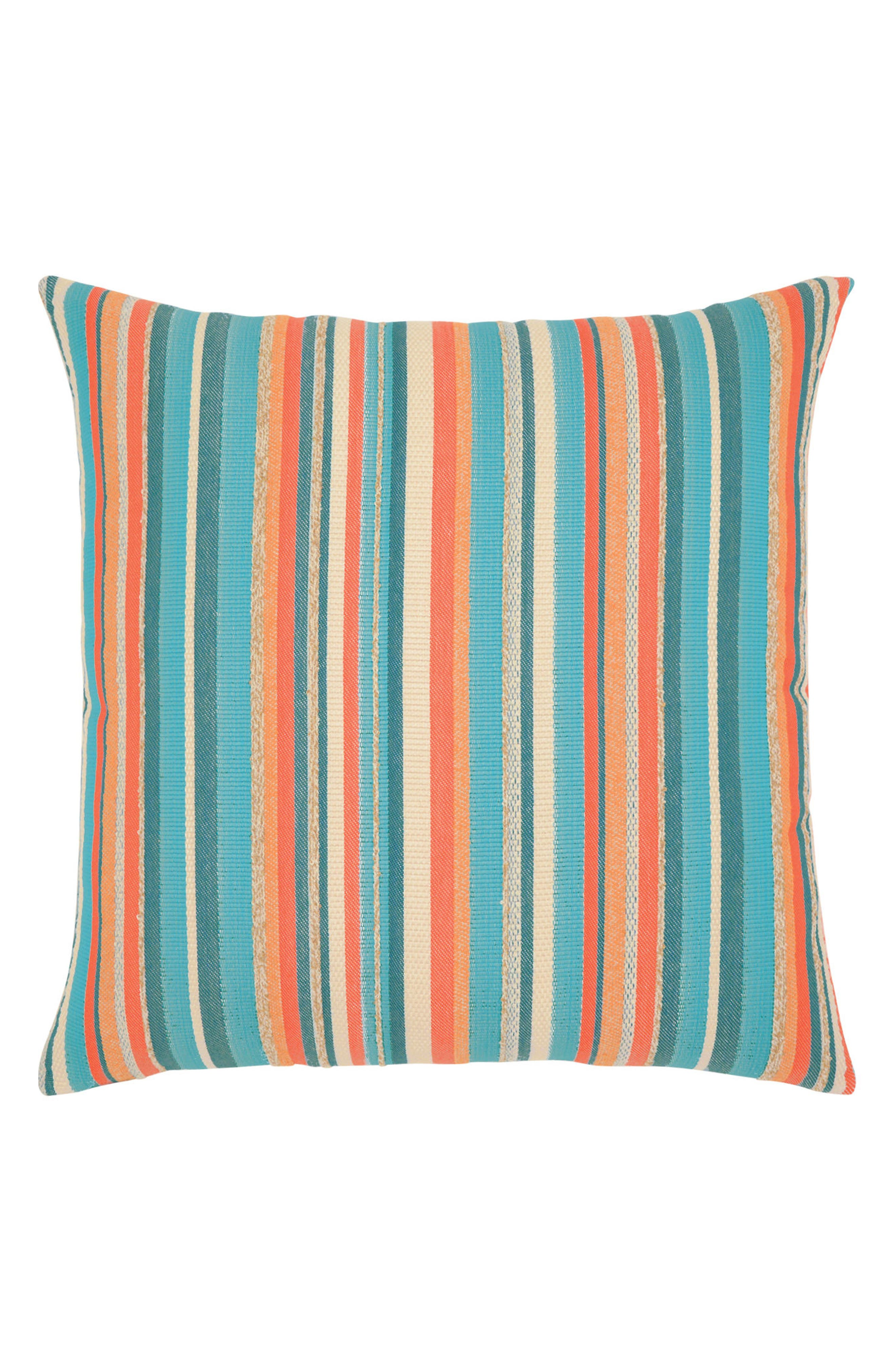 Grand Turk Stripe Indoor/Outdoor Accent Pillow,                             Main thumbnail 1, color,                             BLUE/ ORANGE