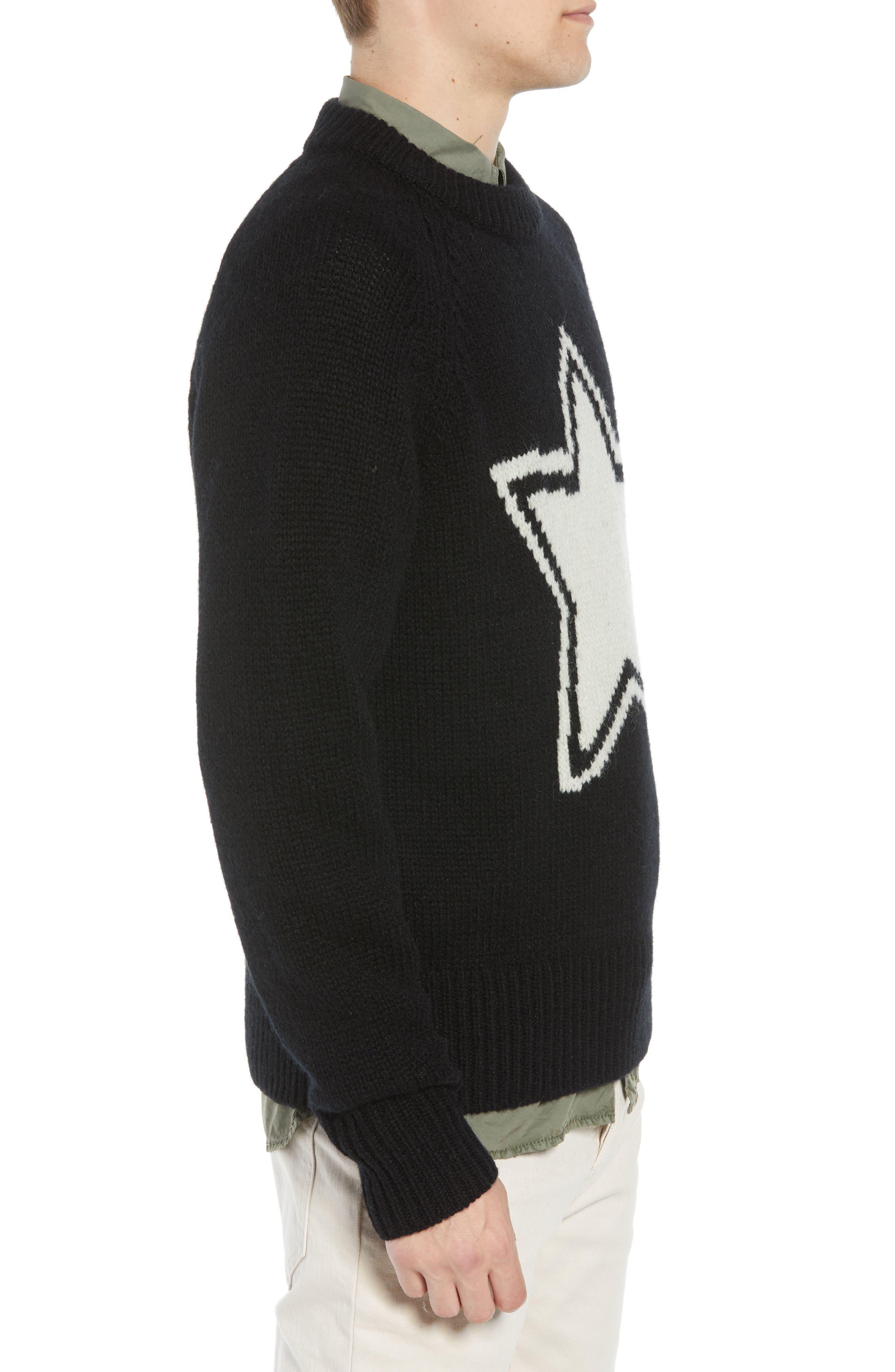 Star Wool Sweater,                             Alternate thumbnail 3, color,                             BLACK WHITECAP GREY