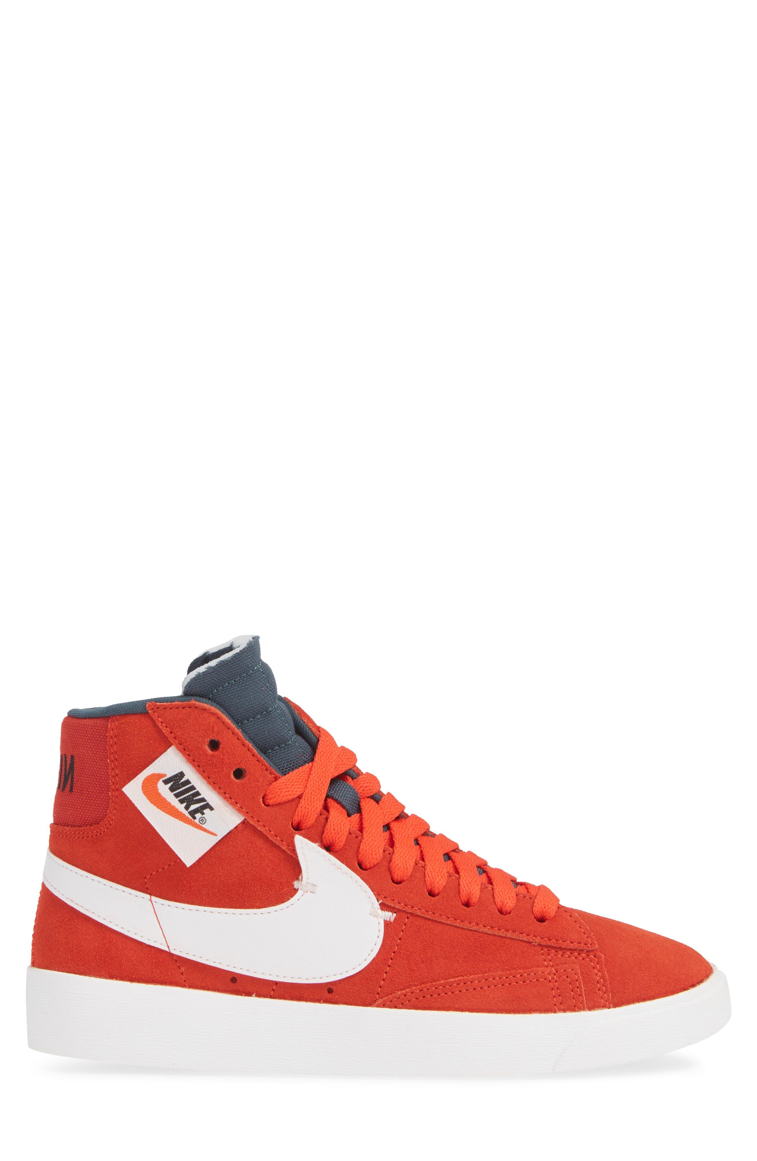 Blazer Mid Rebel Sneaker,                             Alternate thumbnail 3, color,                             HABANERO/ WHITE/ BLACK/ SPRUCE