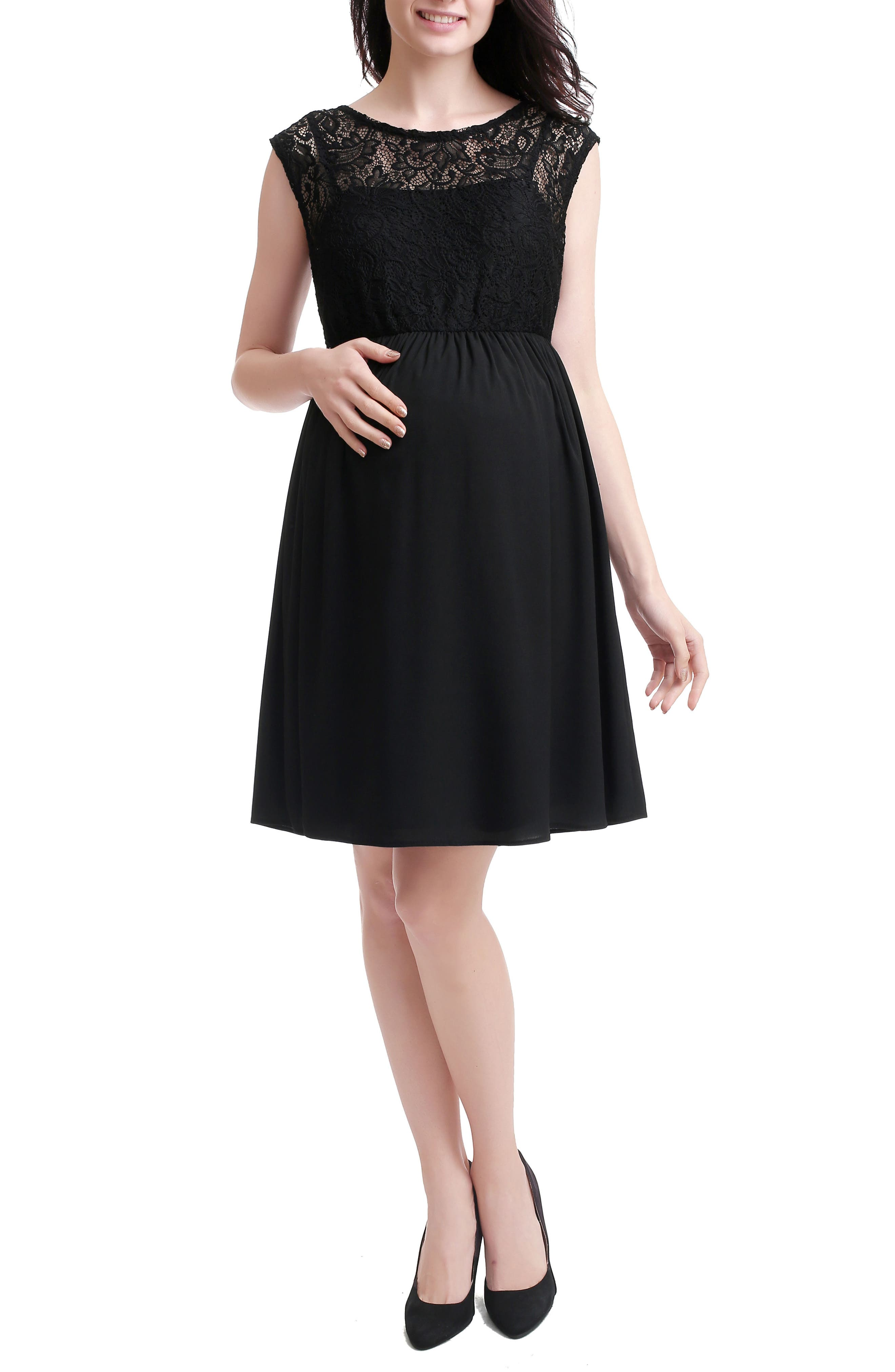 Genevieve Lace Maternity Dress,                         Main,                         color, BLACK
