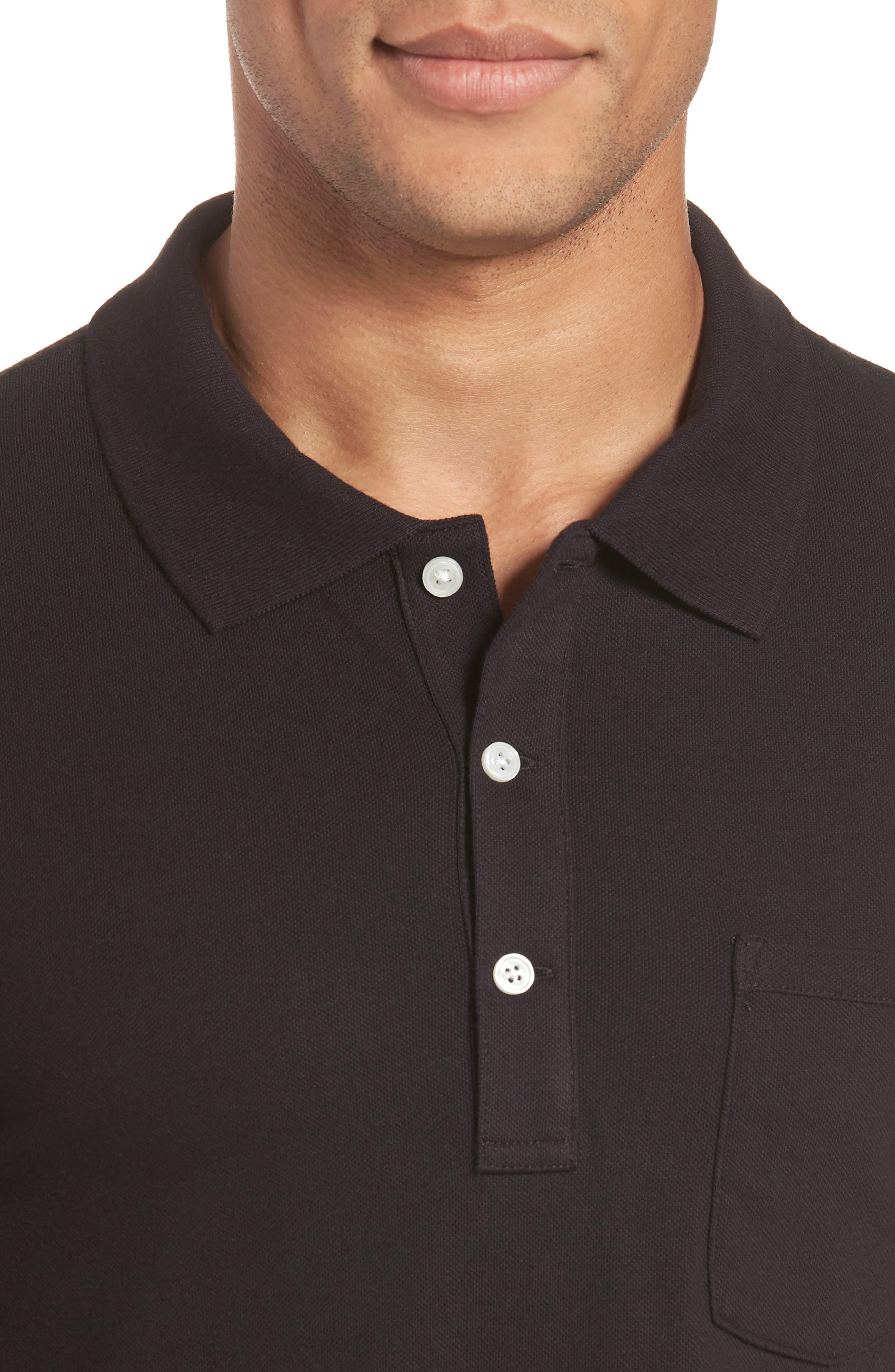 Stretch Cotton Polo Shirt,                             Alternate thumbnail 4, color,                             001