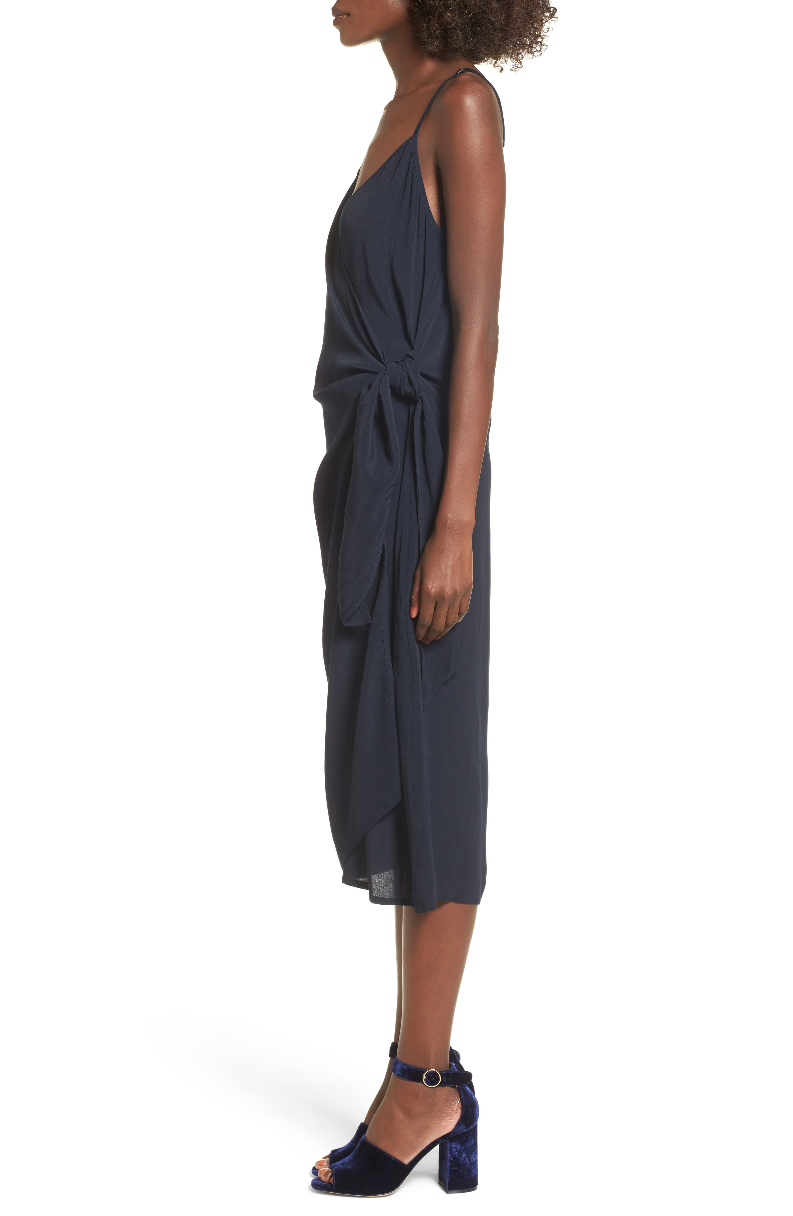 Juel Side Tie Midi Dress,                             Alternate thumbnail 3, color,                             400