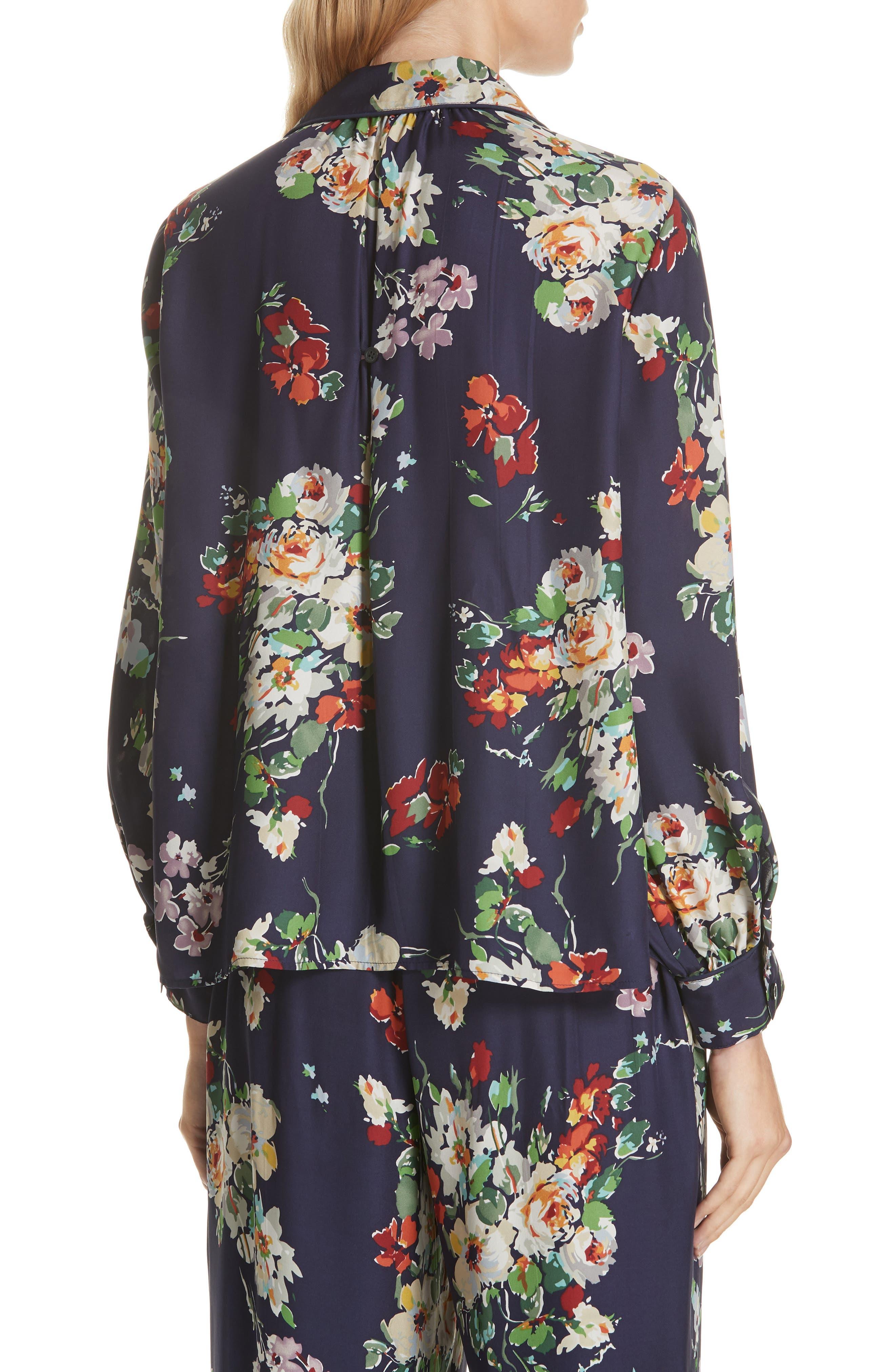 Floral Silk Blouse,                             Alternate thumbnail 2, color,                             NIGHTFALL FLORAL PRINT