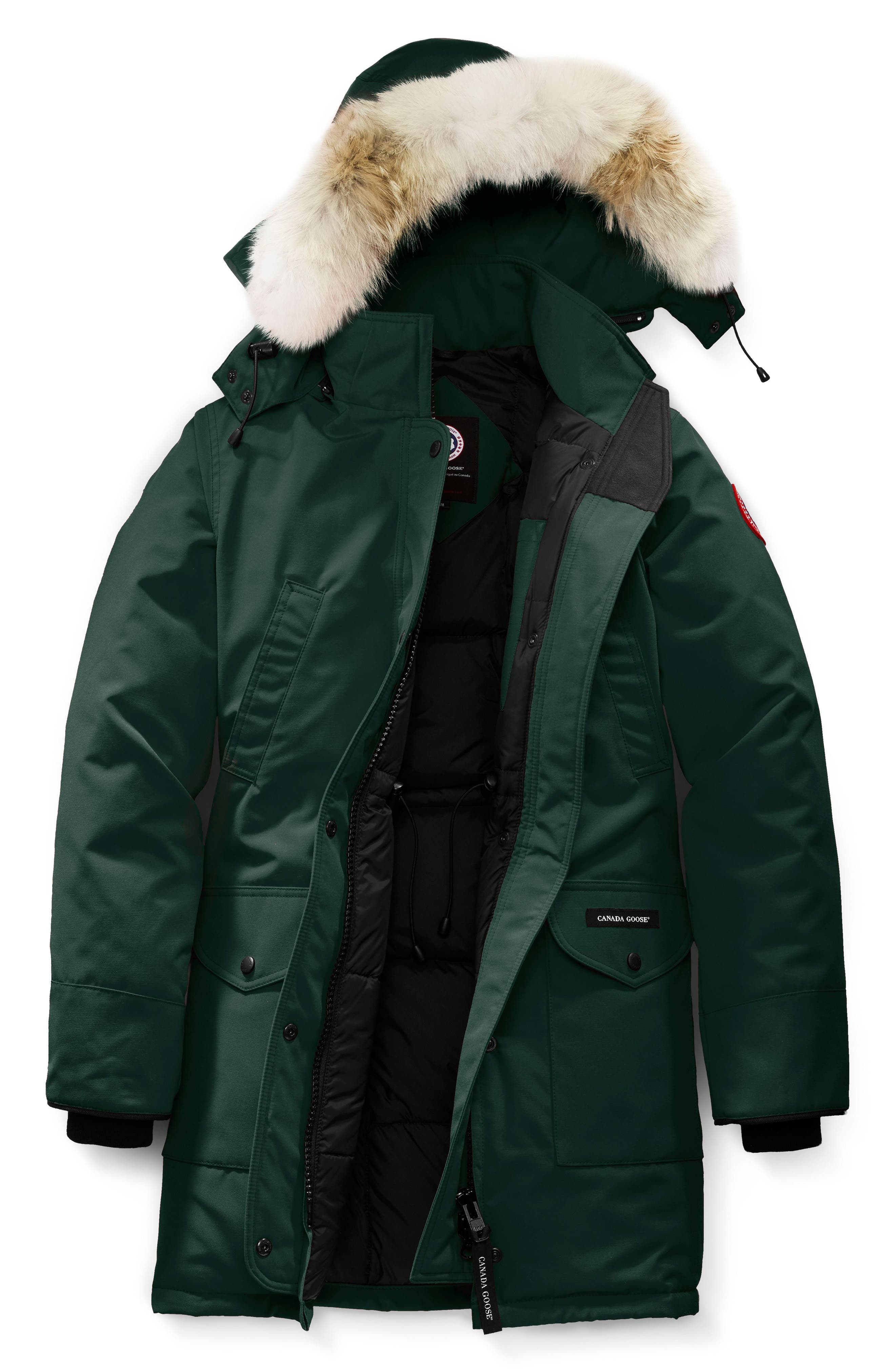 'Trillium' Regular Fit Down Parka with Genuine Coyote Fur Trim,                             Alternate thumbnail 4, color,                             SPRUCE