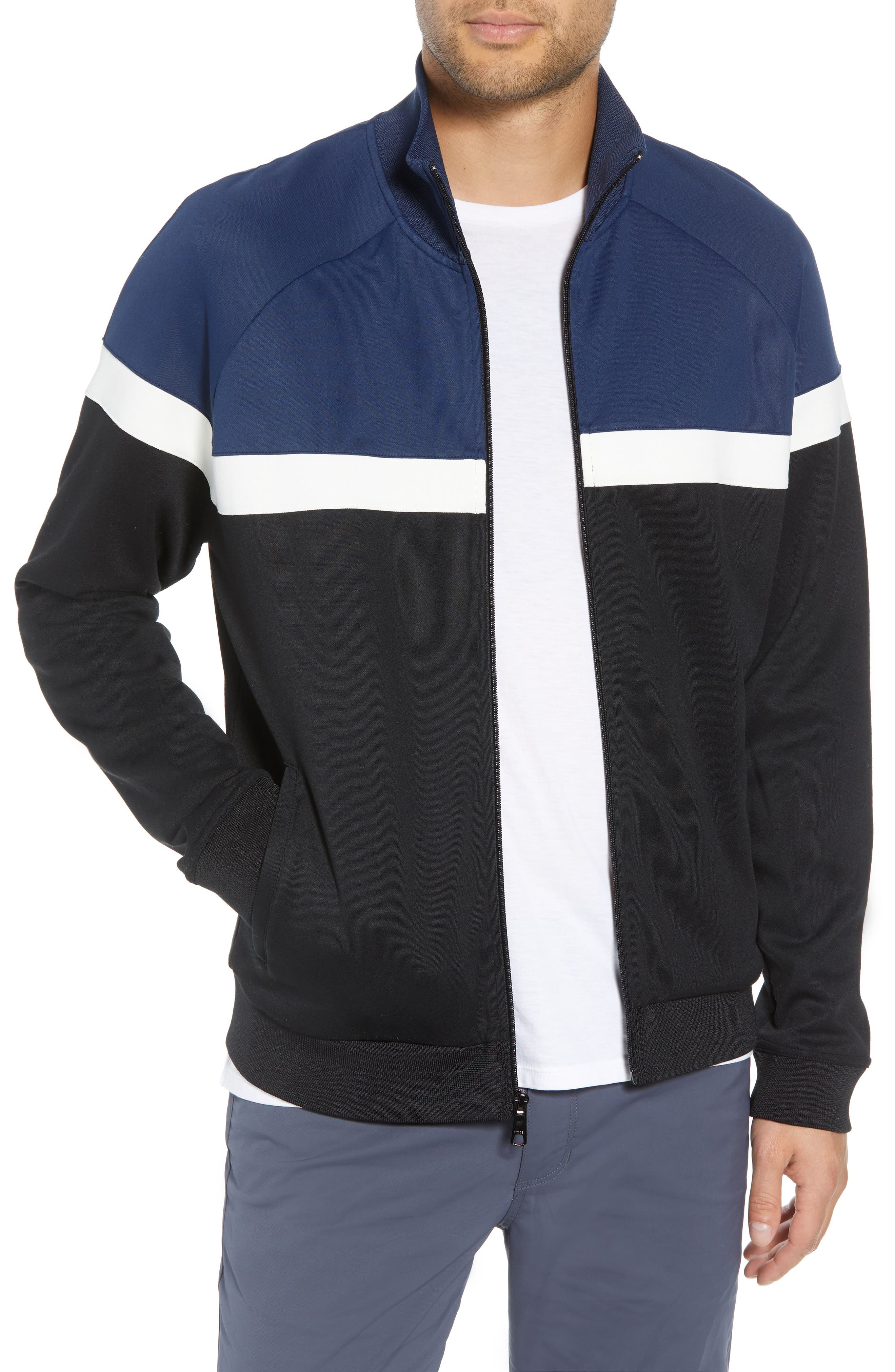 Classic Fit Colorblock Track Jacket,                         Main,                         color, BLACK/ PRUSSIAN BLUE
