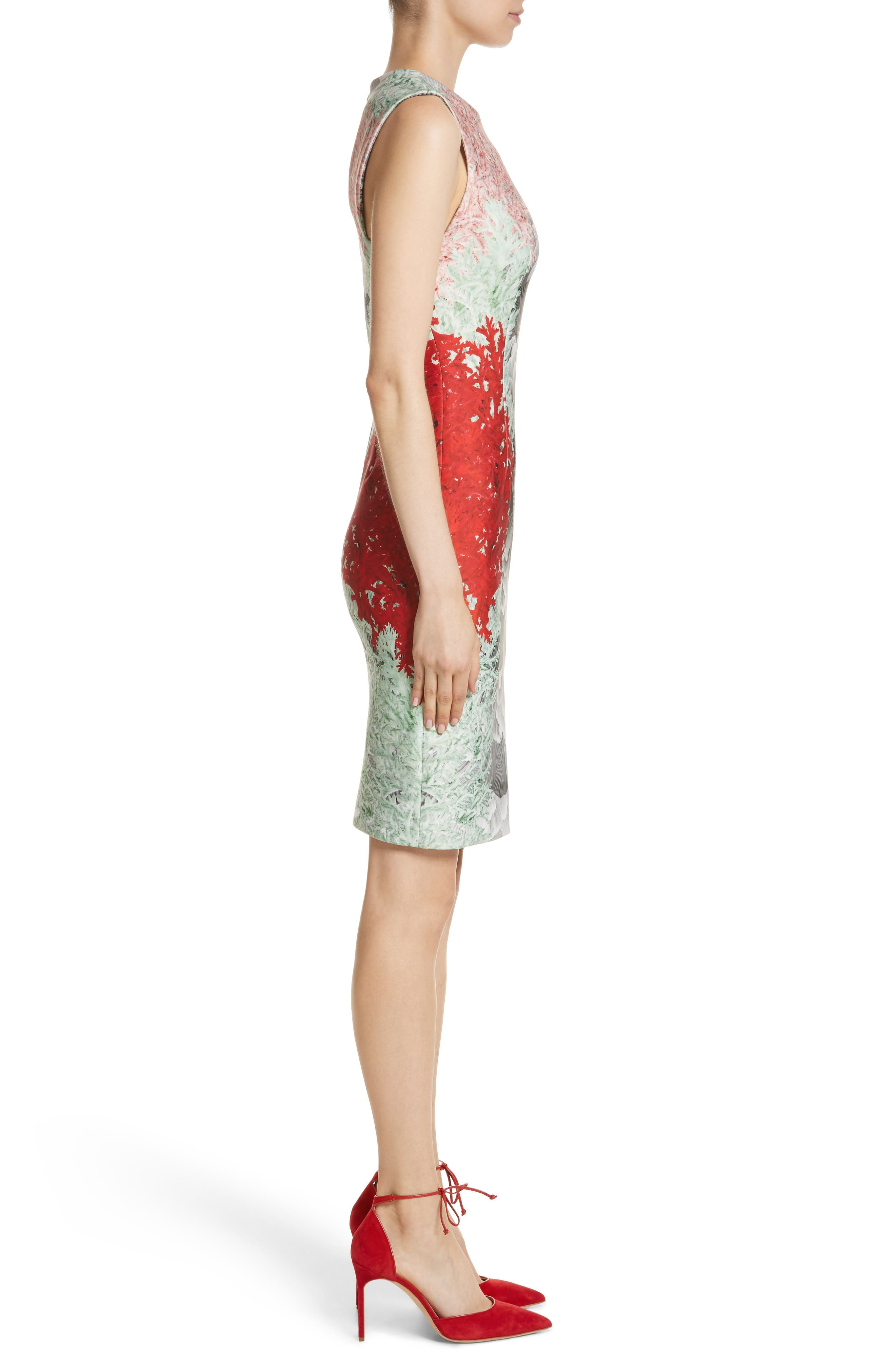 Coral Print Scuba Sheath Dress,                             Alternate thumbnail 3, color,