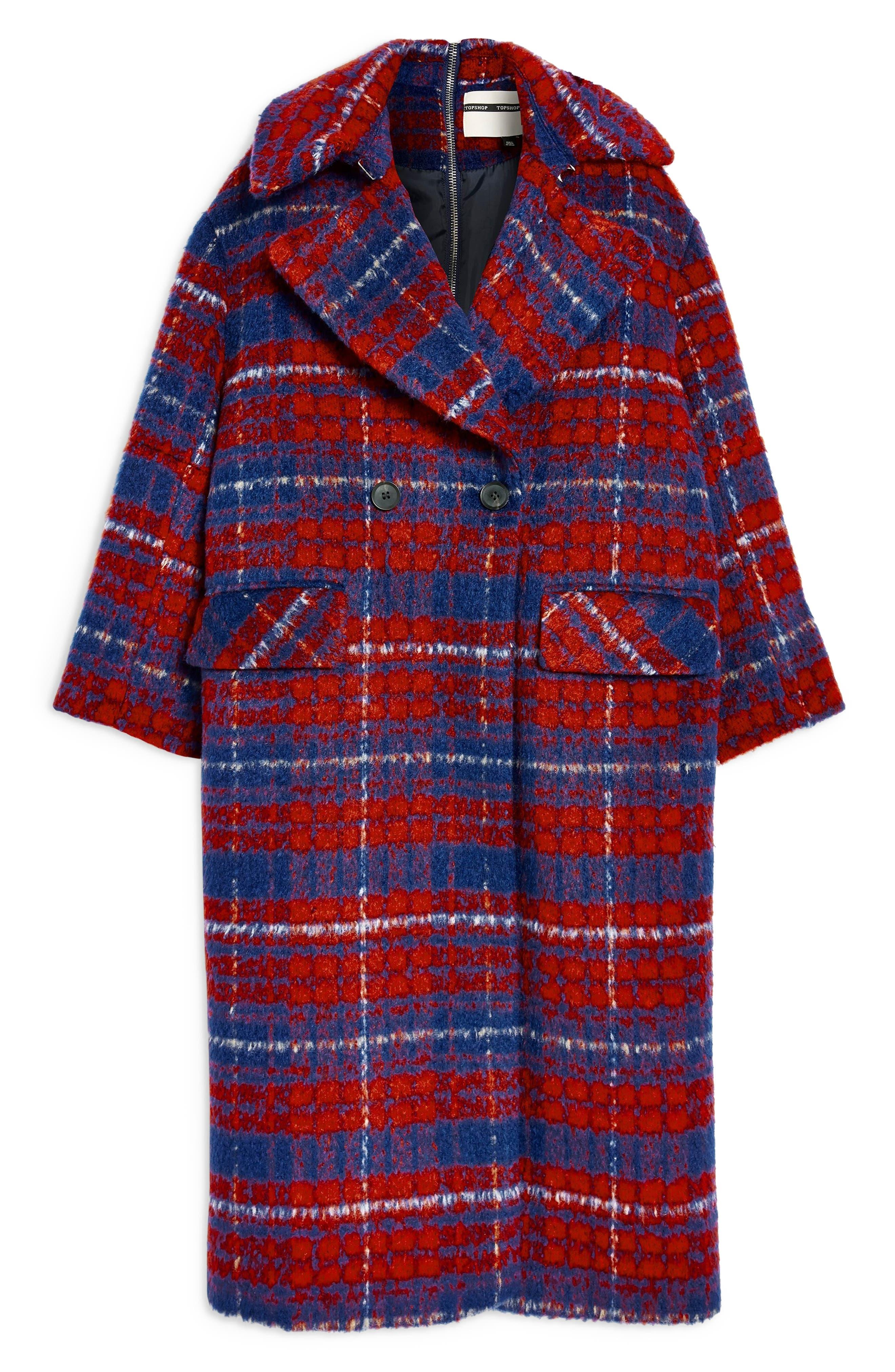 Bodika Check Coat,                             Alternate thumbnail 6, color,                             RED MULTI