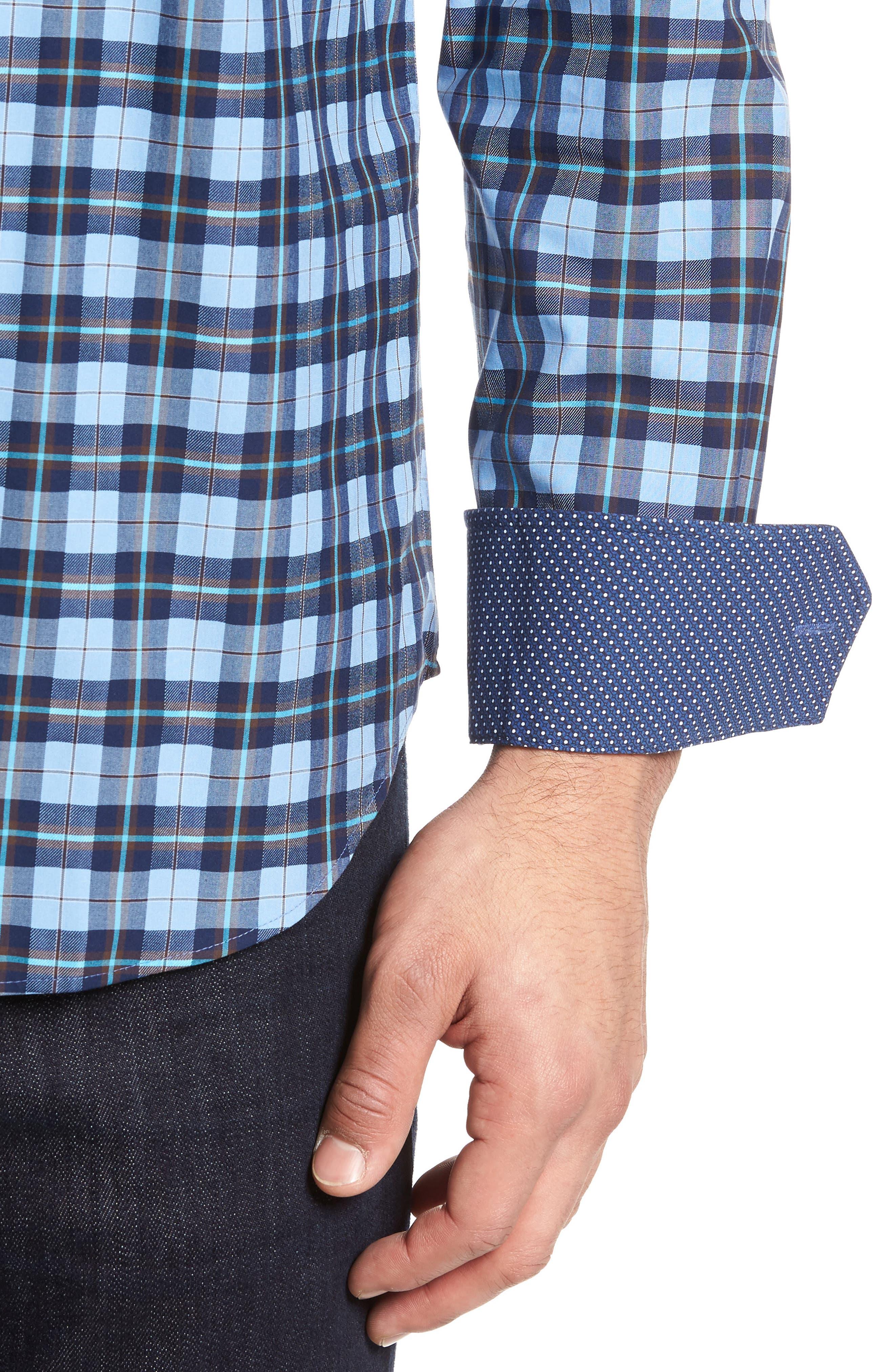 Trim Fit Check Sport Shirt,                             Alternate thumbnail 4, color,                             459