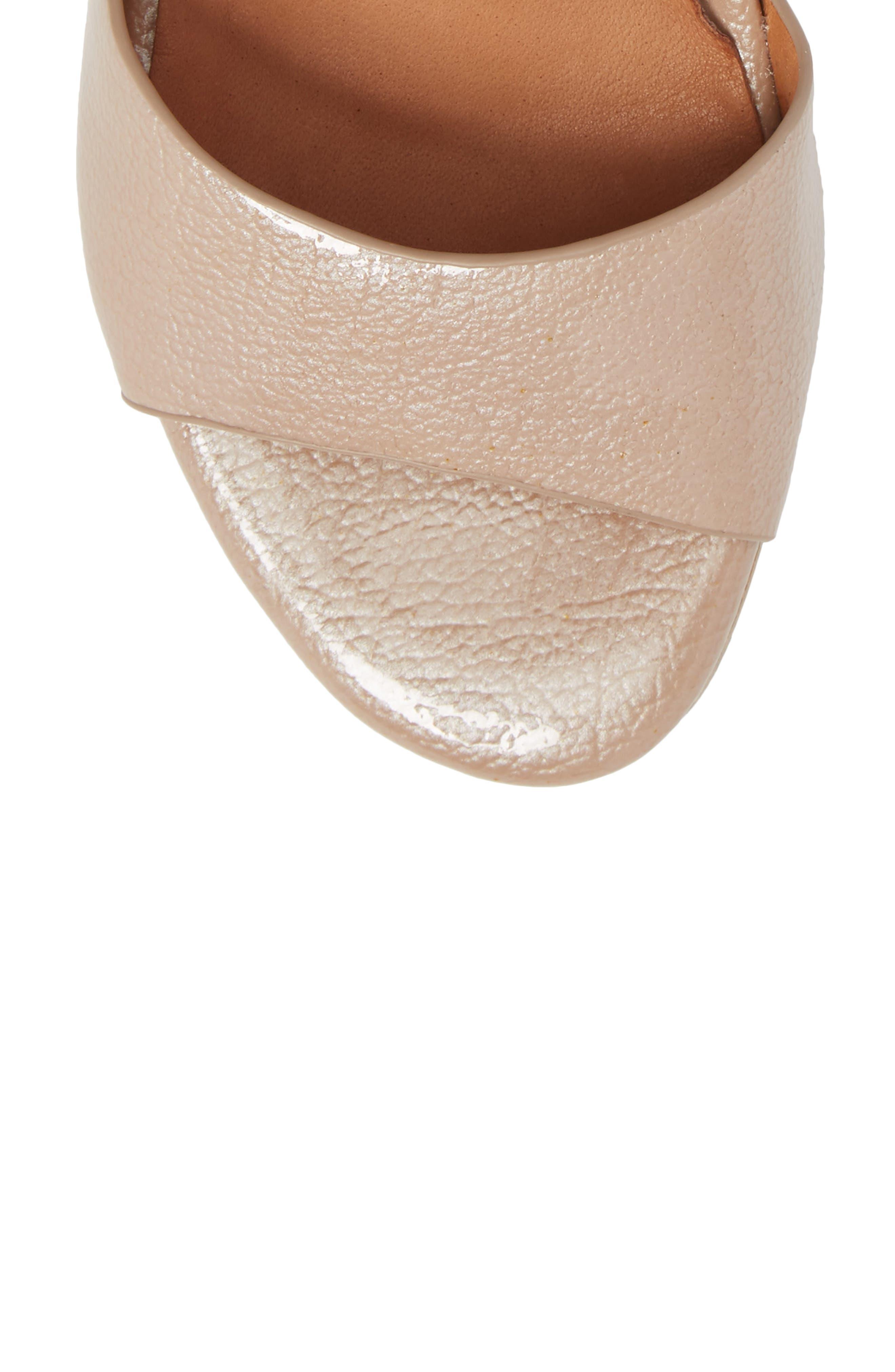 Christa Block Heel Sandal,                             Alternate thumbnail 5, color,                             NUDE PATENT LEATHER