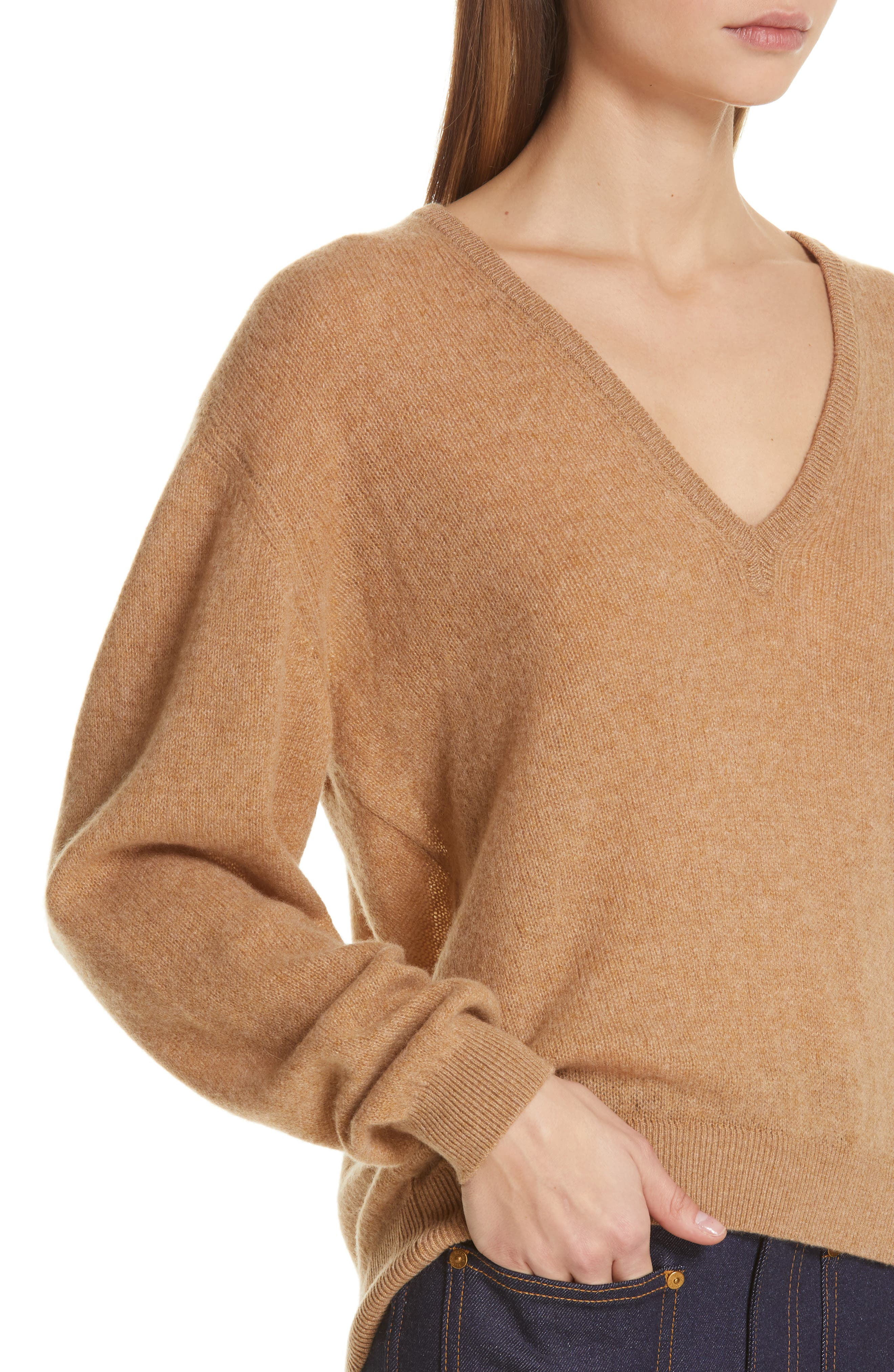 KHAITE,                             Sam Cashmere Sweater,                             Alternate thumbnail 5, color,                             CAMEL