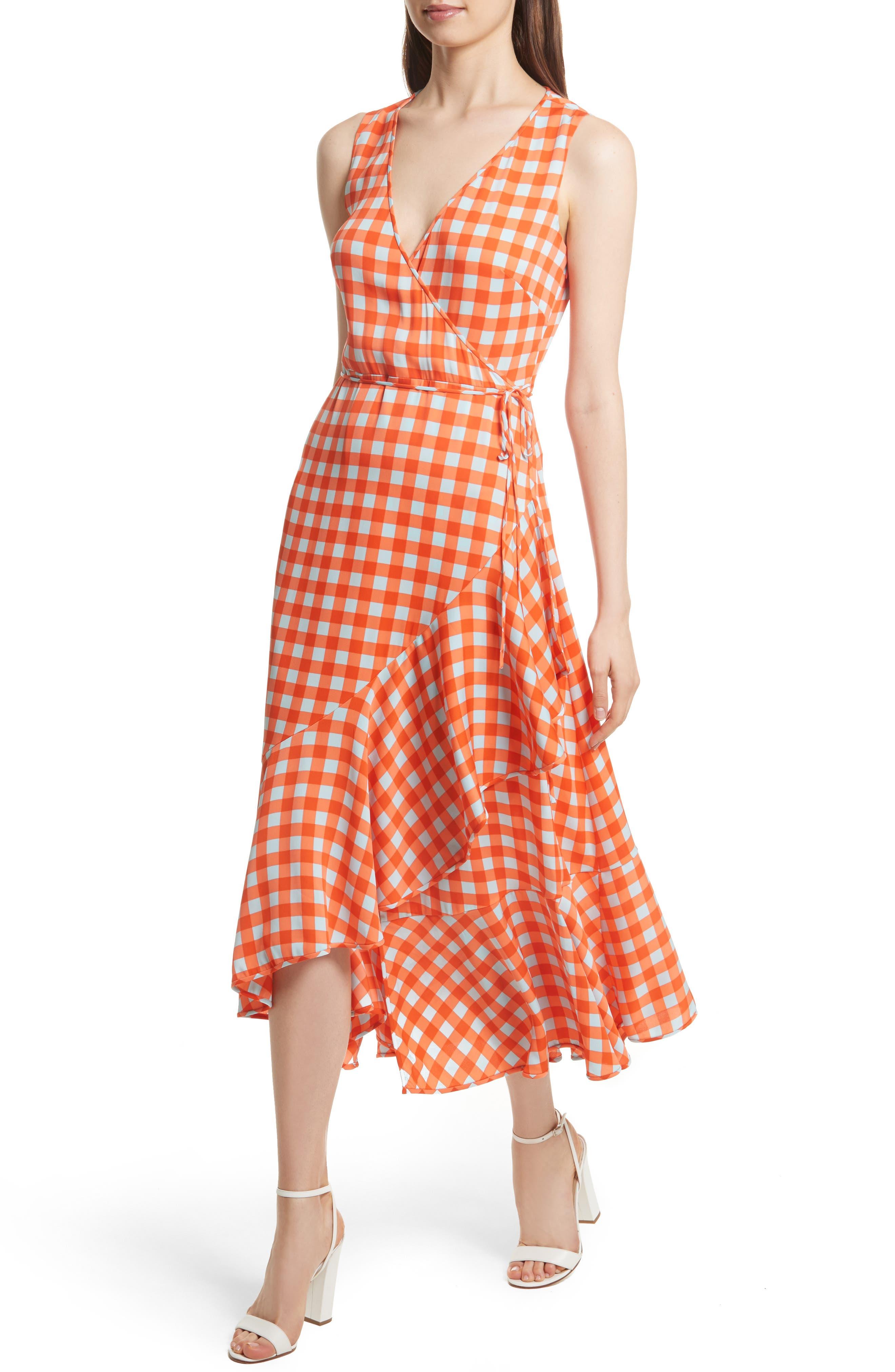 Check Ruffle Hem Wrap Dress,                             Alternate thumbnail 4, color,                             810