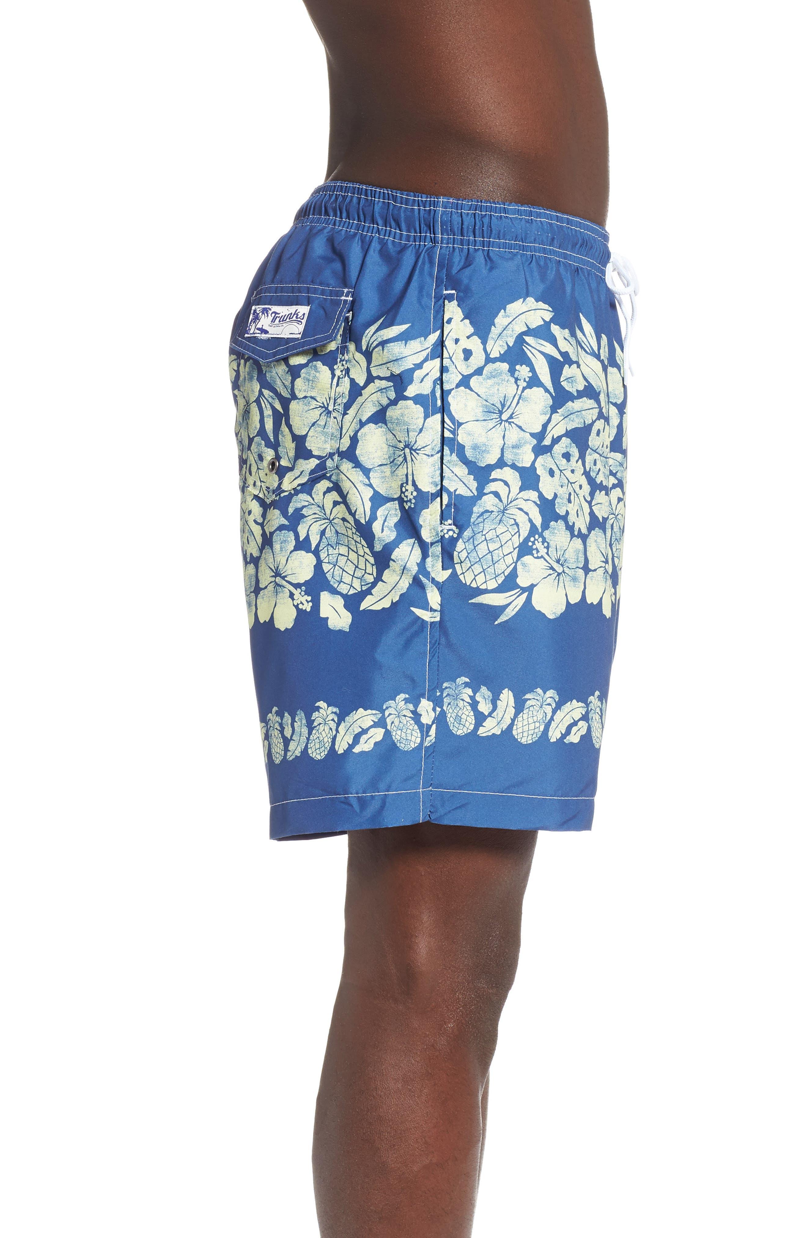 Placement Print Sano Swim Shorts,                             Alternate thumbnail 3, color,                             PINEAPPLE BORDER