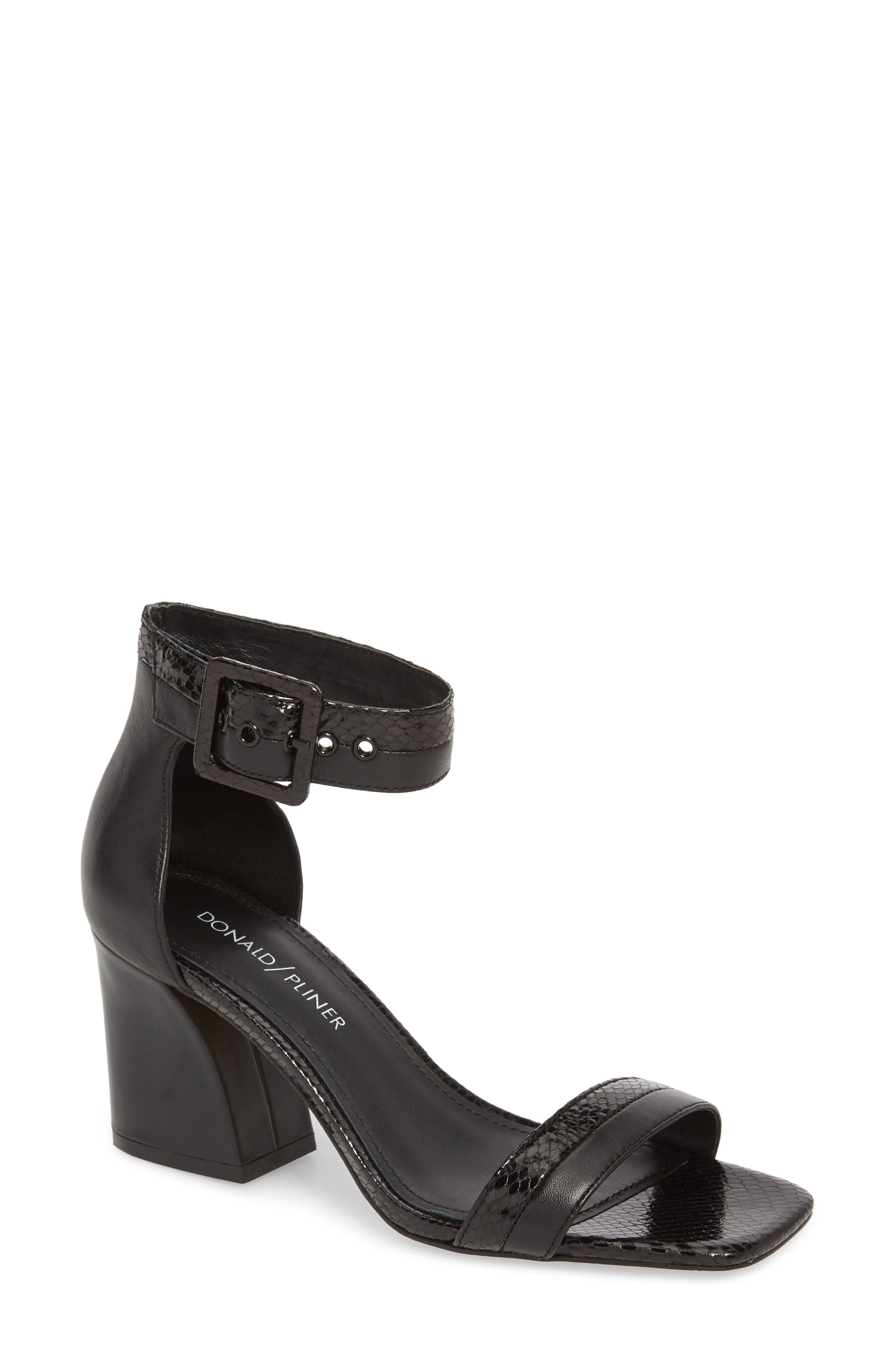 Watson Ankle Strap Sandal,                             Main thumbnail 1, color,                             BLACK PRINTED LEATHER