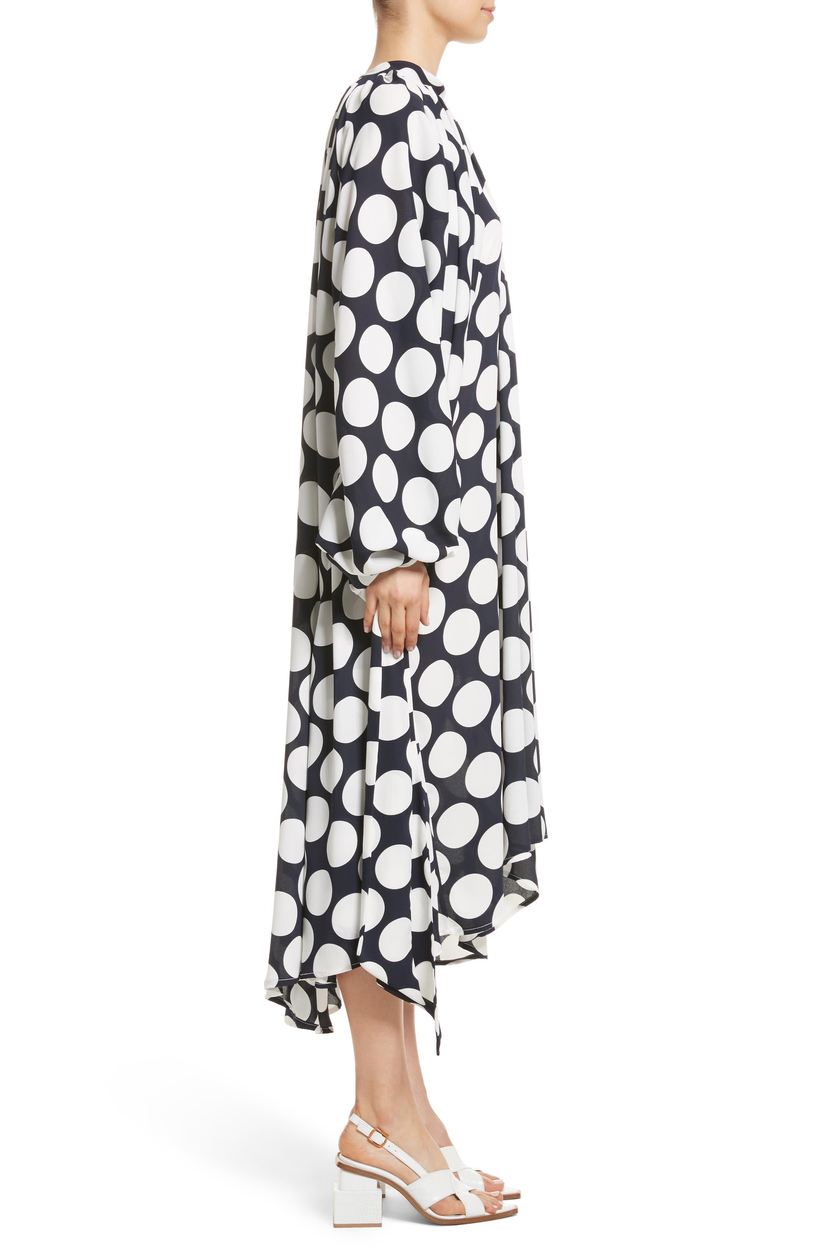Giant Polka Dot Gathered Collar Dress,                             Alternate thumbnail 3, color,                             410