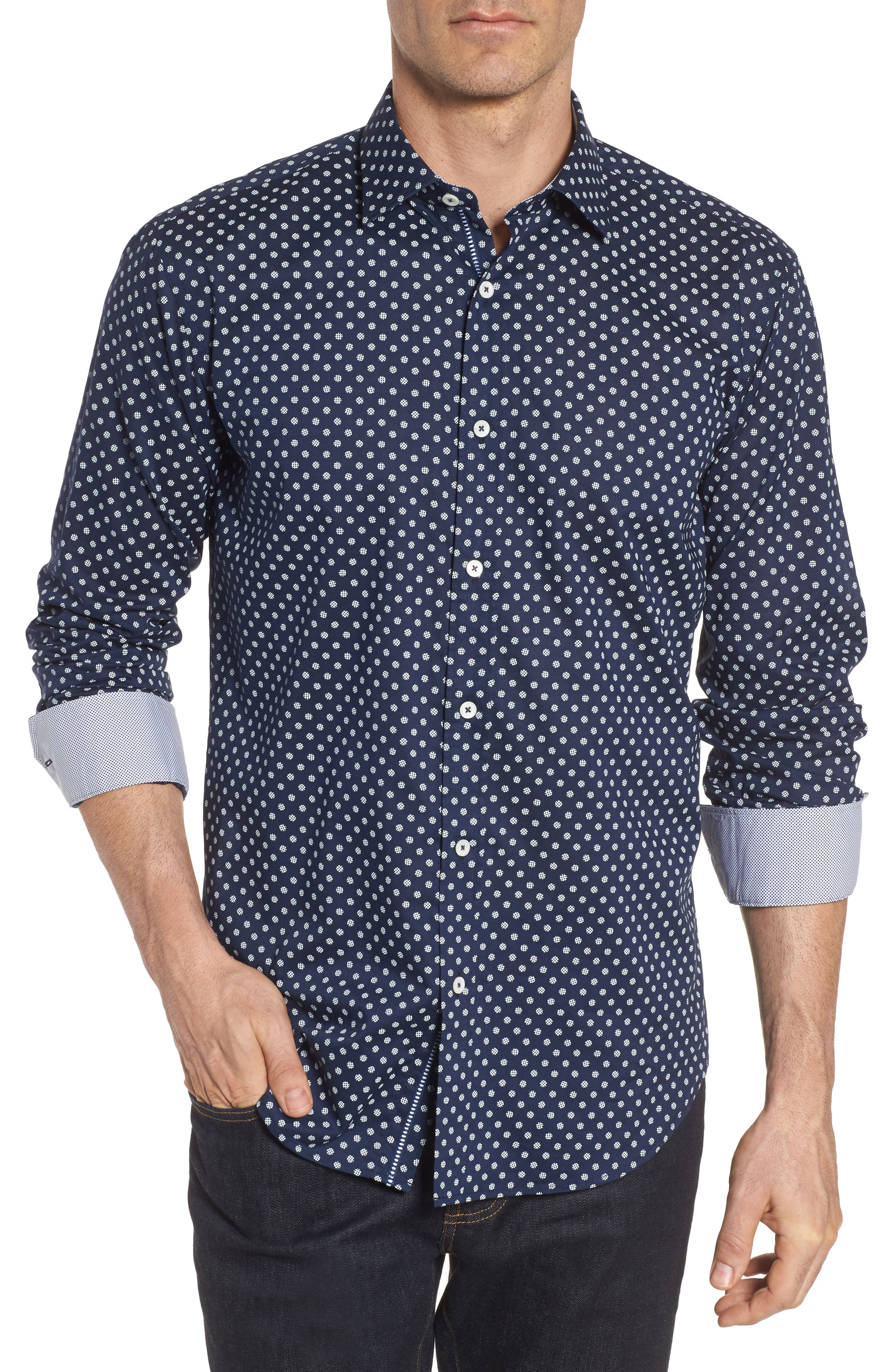 Shaped Fit Print Sport Shirt,                             Main thumbnail 1, color,                             411