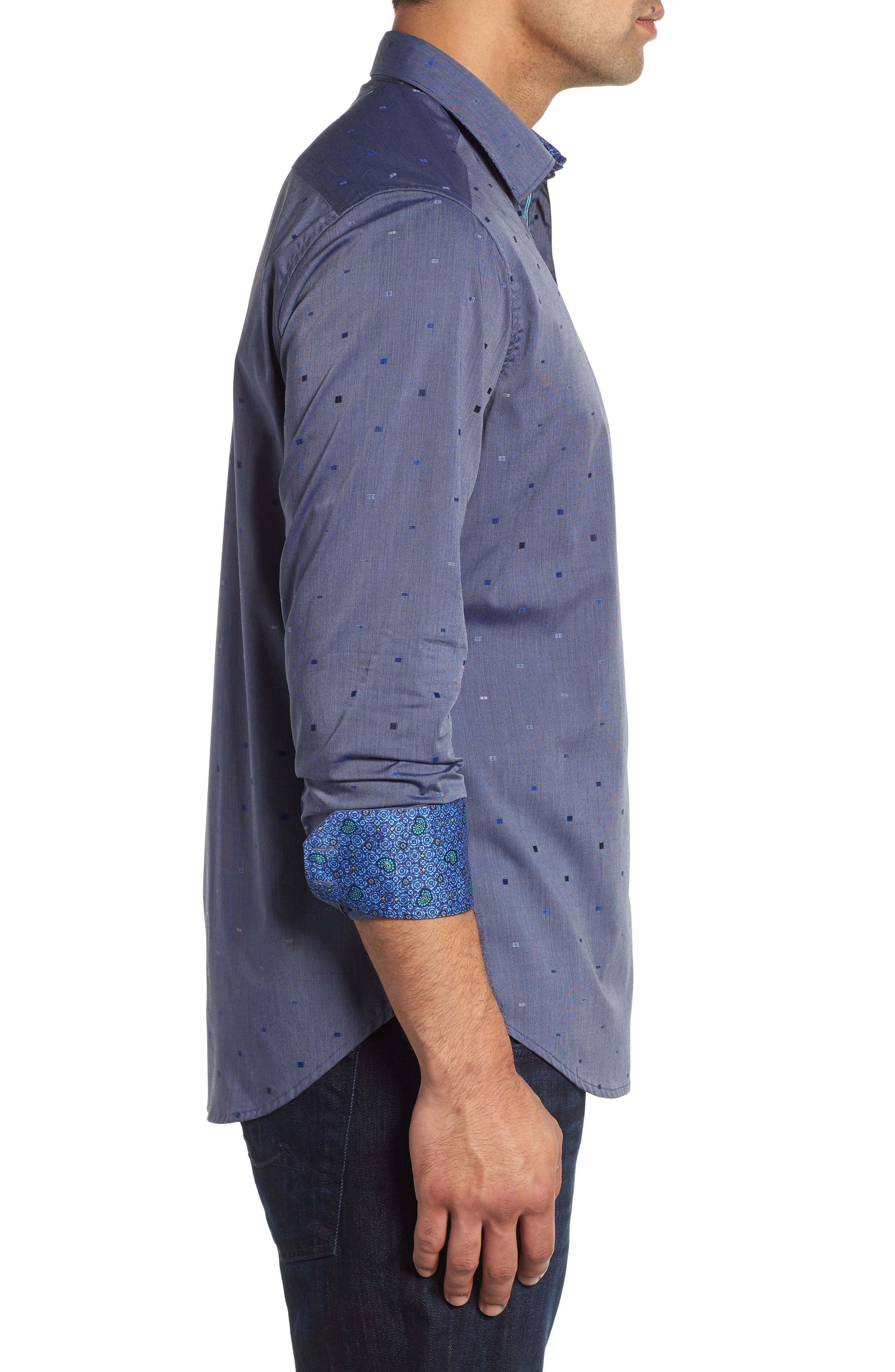 Kerr Classic Fit Sport Shirt,                             Alternate thumbnail 4, color,                             NAVY